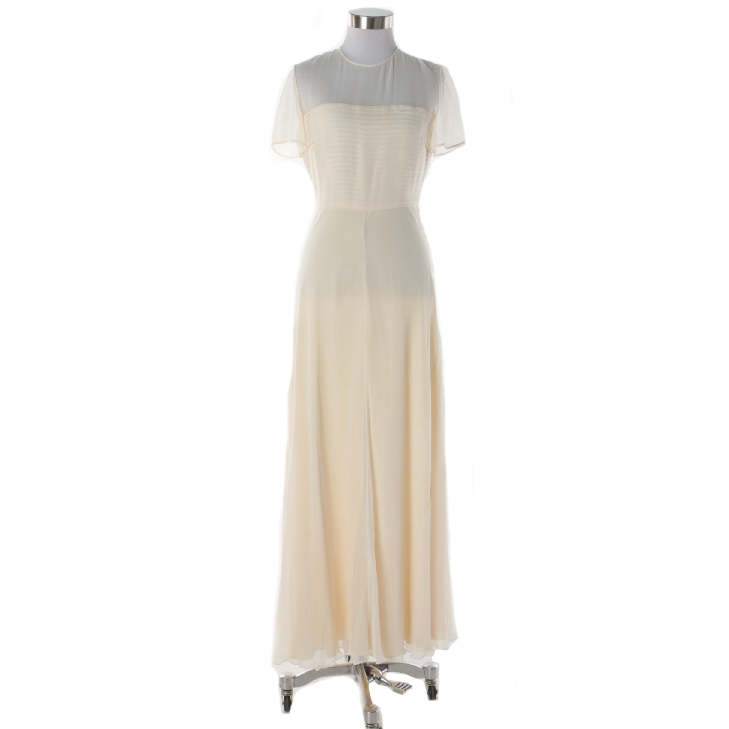 Melinda Eng Cream Silk Illusion Evening Gown
