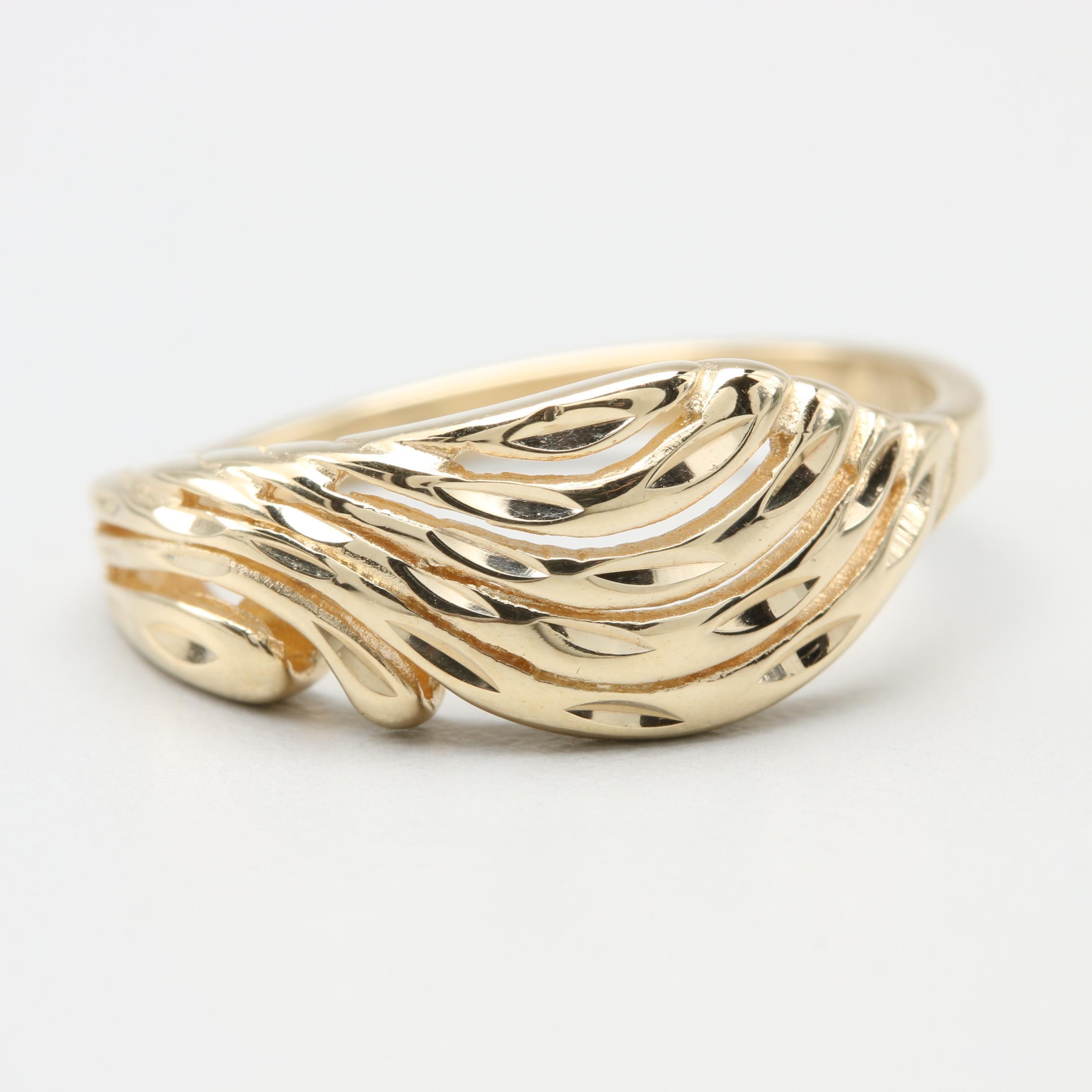 10K Yellow Gold Split Crown Ring