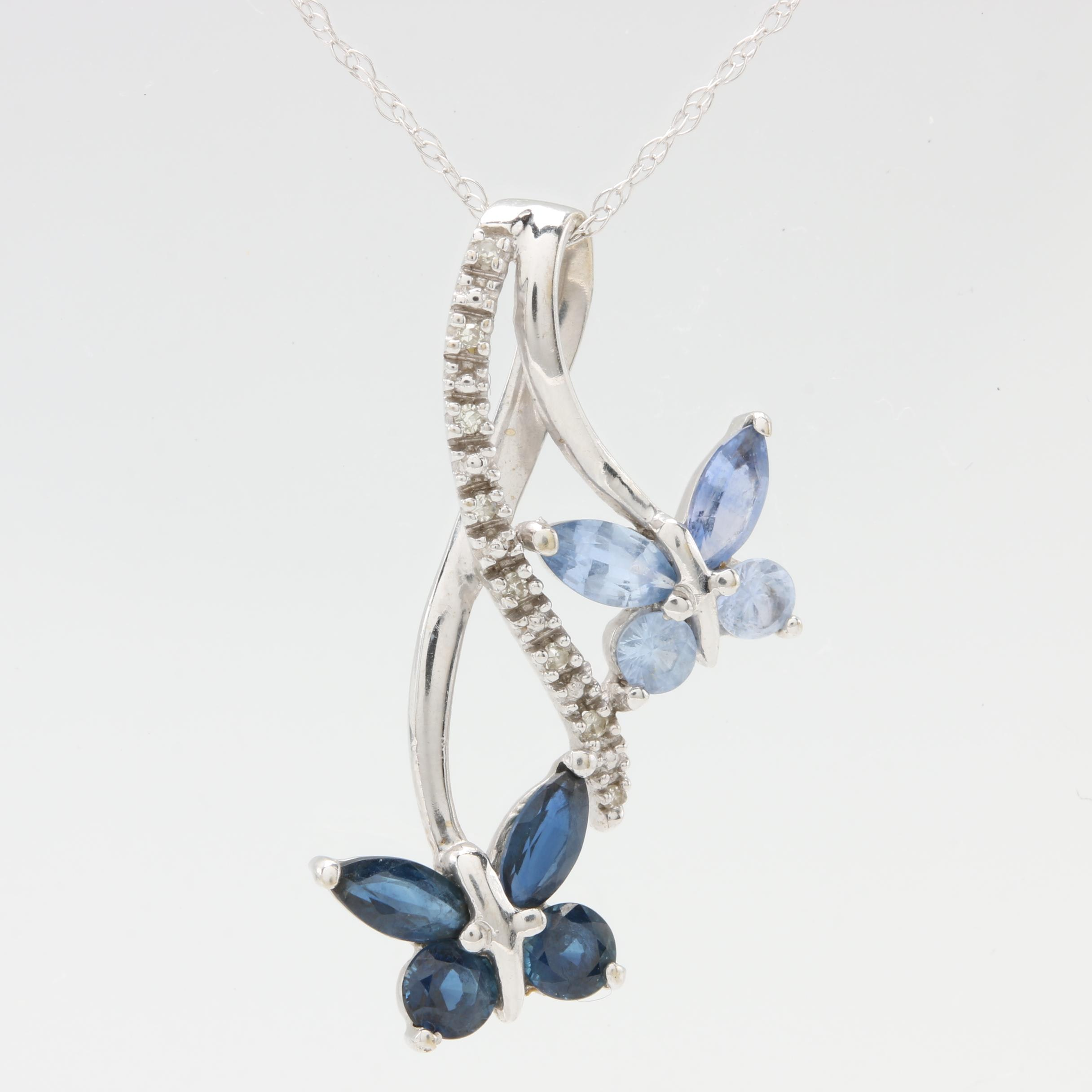 10K and 14K White Gold Blue Sapphire and Diamond Pendant Necklace