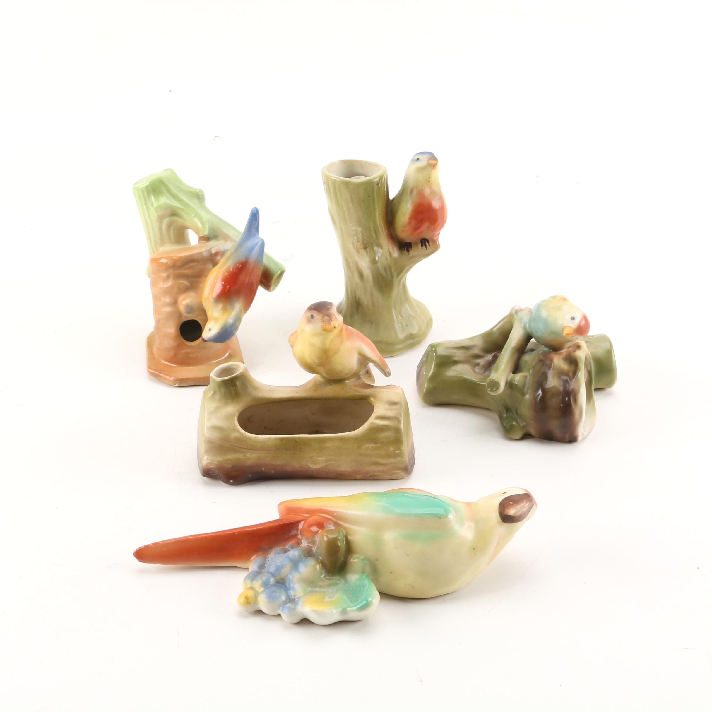 Vintage Czechoslovakian Ceramic Bird Planters and Wall Pockets