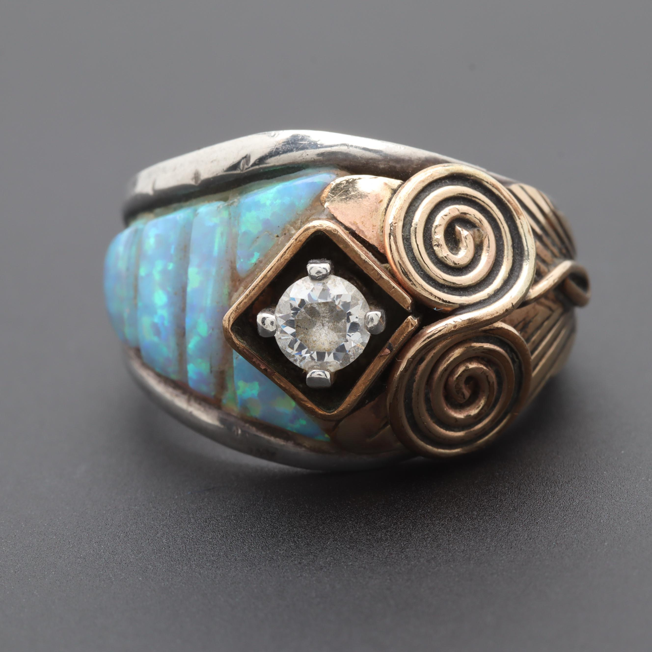 Silver Ray Gold Wash on Sterling Silver Cubic Zirconia and Synthetic Opal Ring