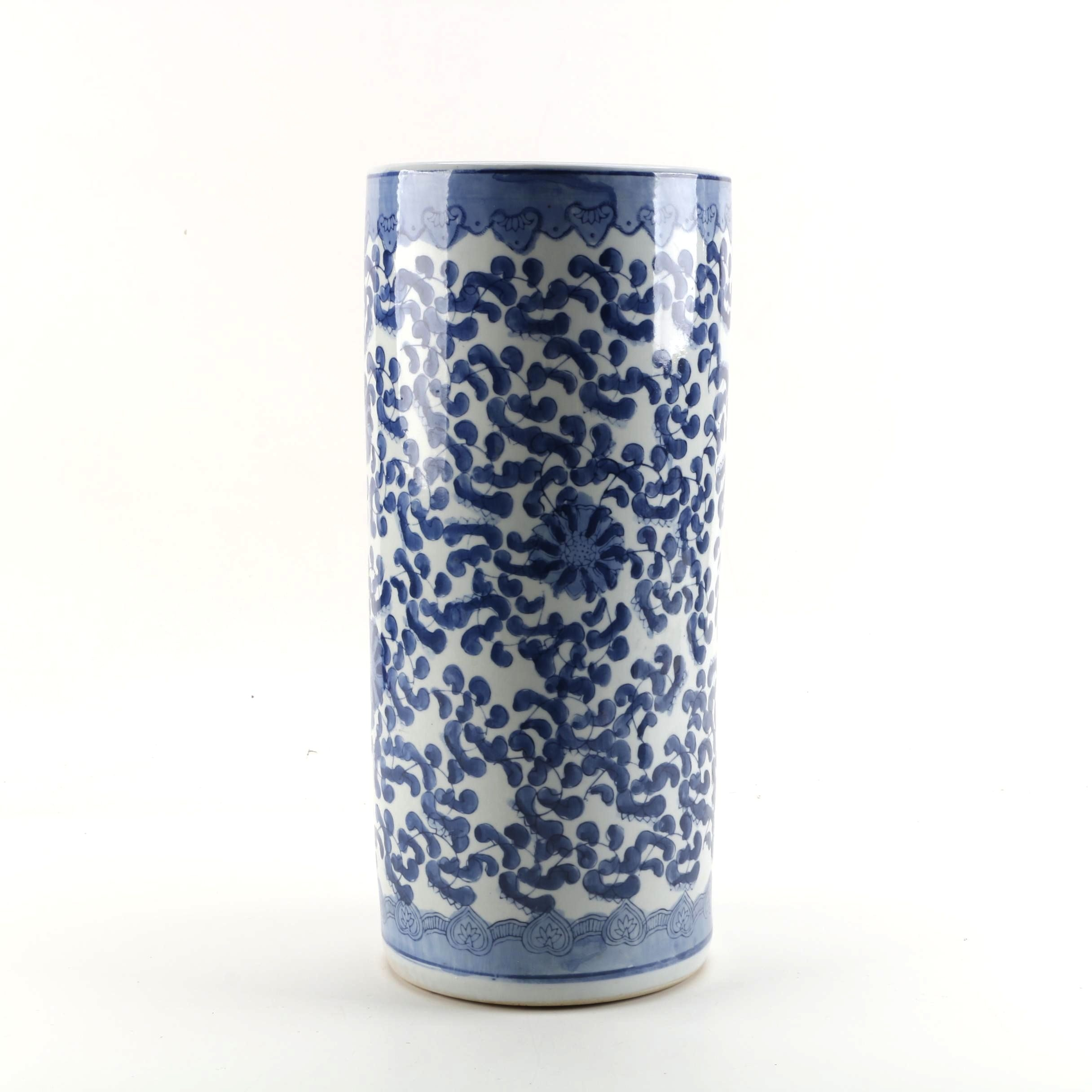 Chinese Blue and White Hand-Painted Ceramic Umbrella Stand