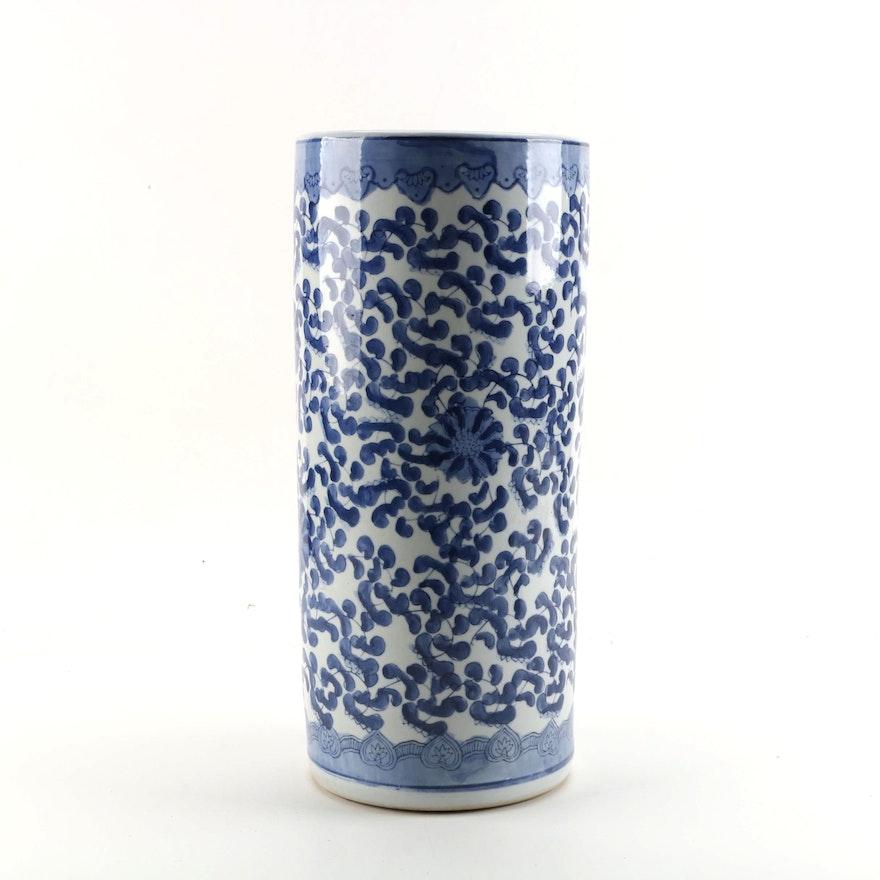 Chinese Blue And White Hand Painted Ceramic Umbrella Stand