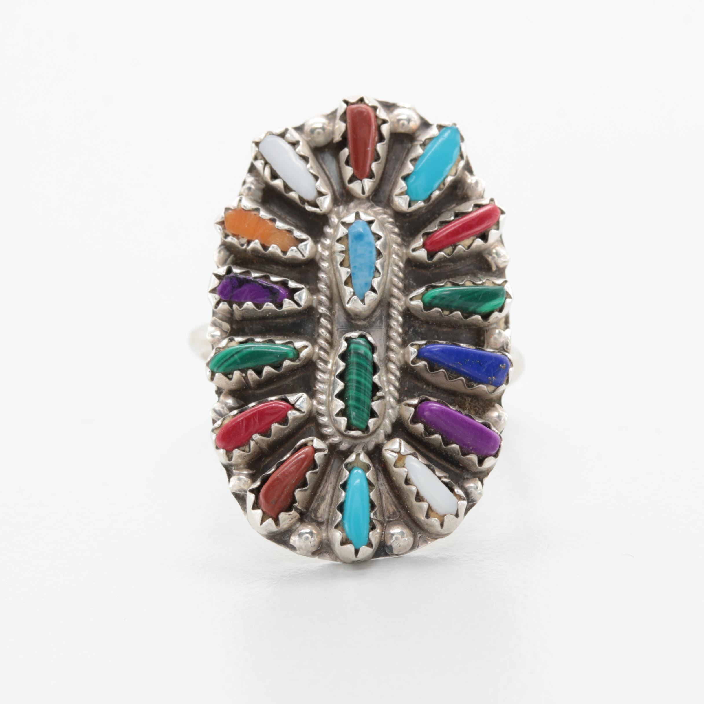 Violet Begay Navajo Sterling Silver Ring with Coral, Malachite, and Lapis Lazuli