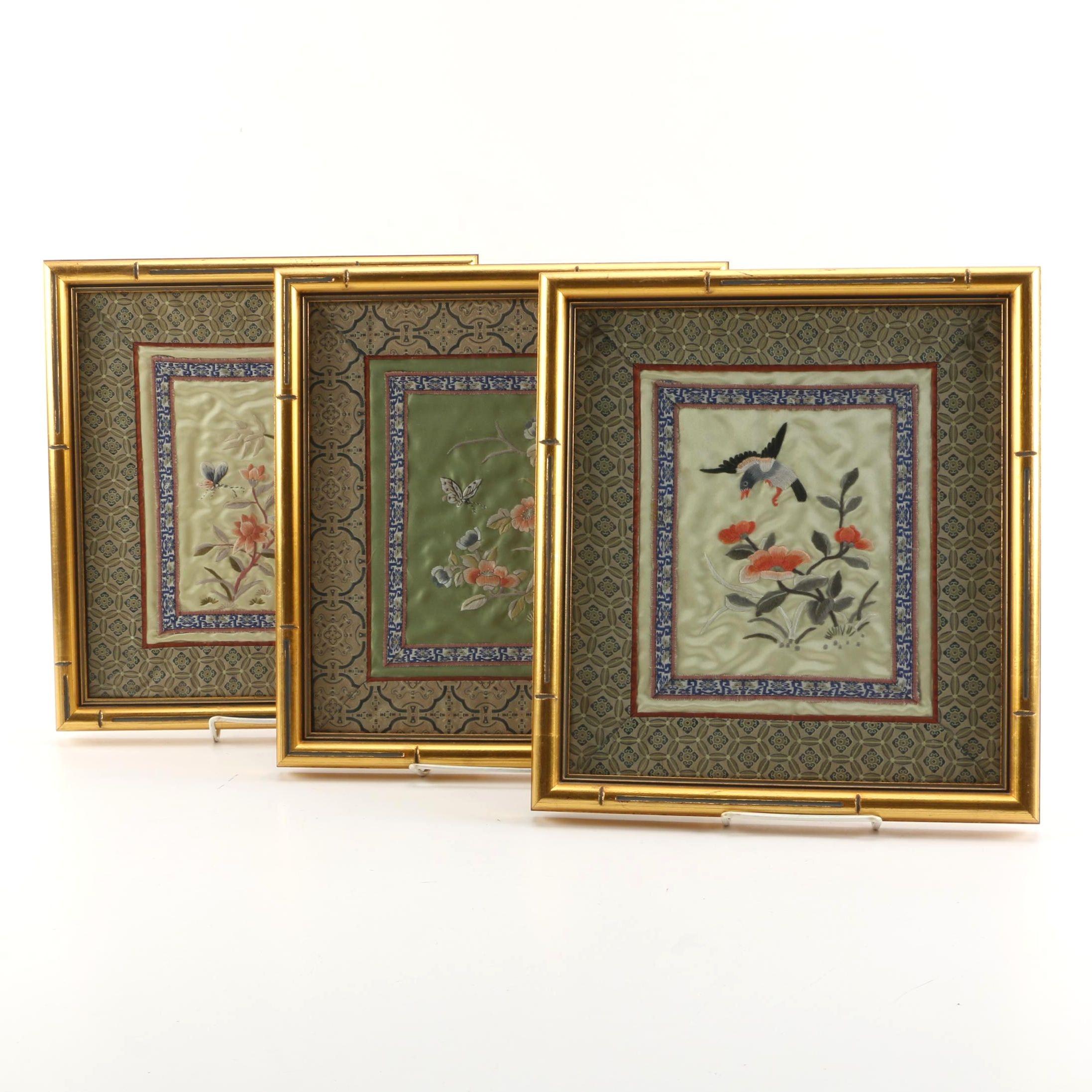 Chinese Emboridered Silk Panels