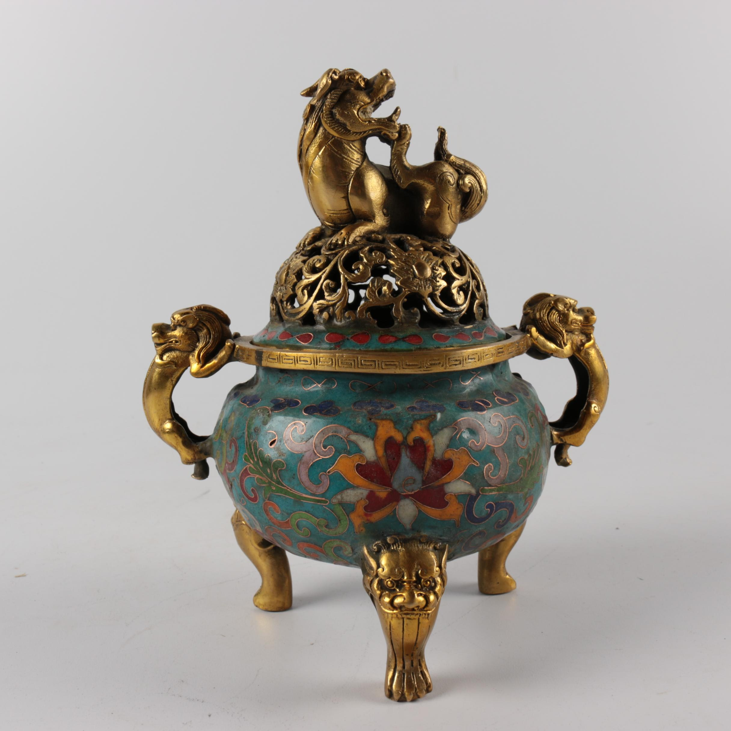 Chinese Cloisonne Guardian Lion Footed Censer