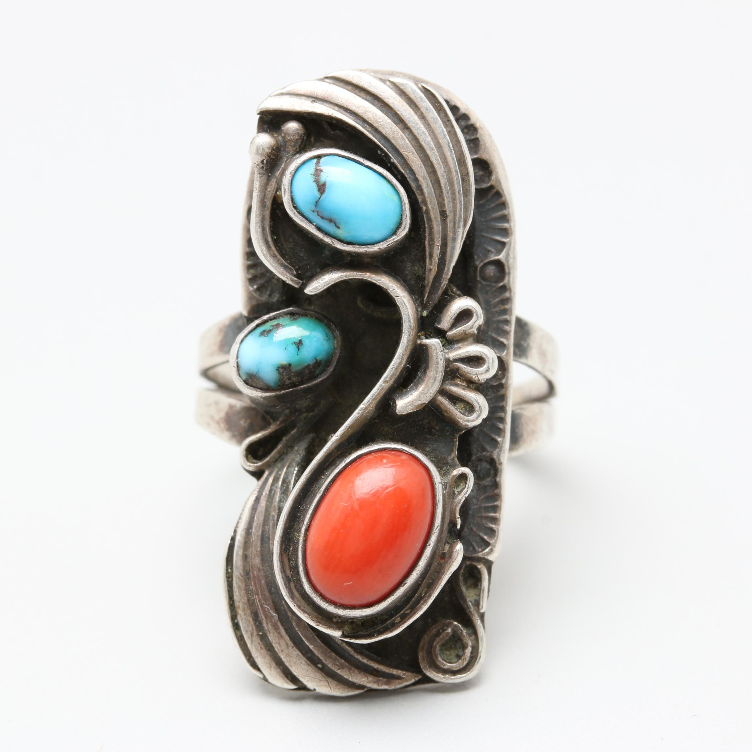Raymond Secatero Navajo Diné Sterling Silver Turquoise and Coral Ring