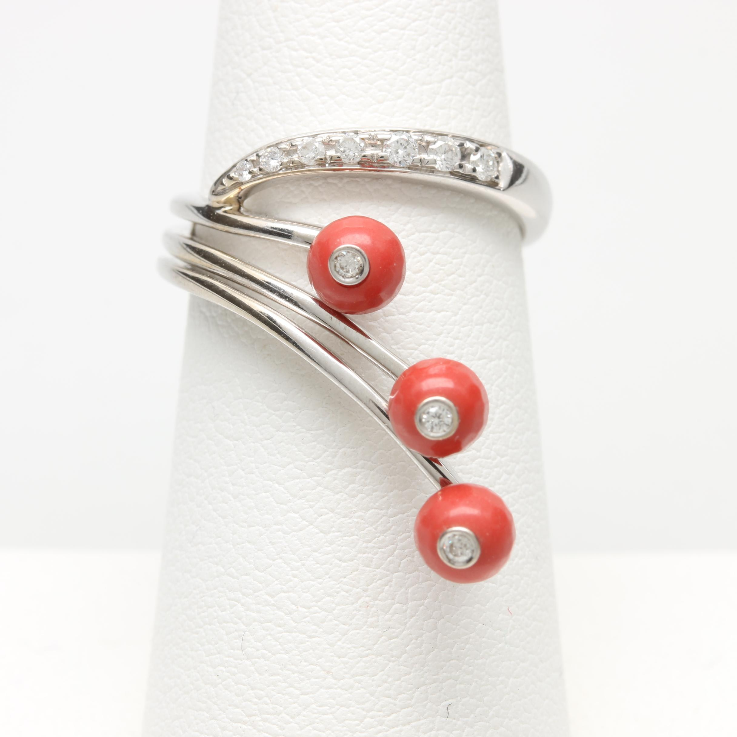18K White Gold Imitation Coral and Diamond Ring