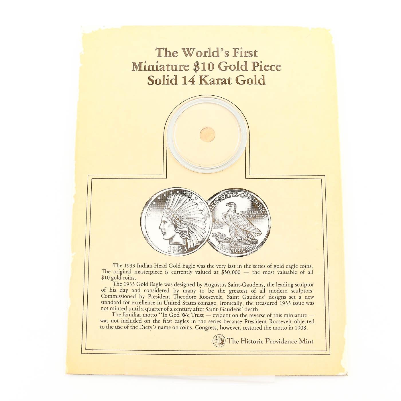 Miniature Replica $10 Indian Head 14 Karat Gold Eagle