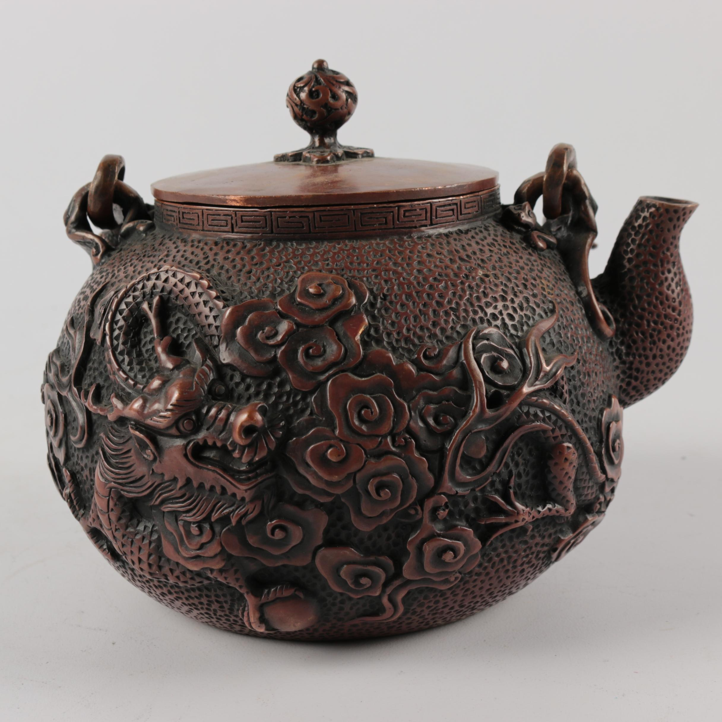 Chinese Embossed Metal Dragon Themed Teapot with a Bronze Finish