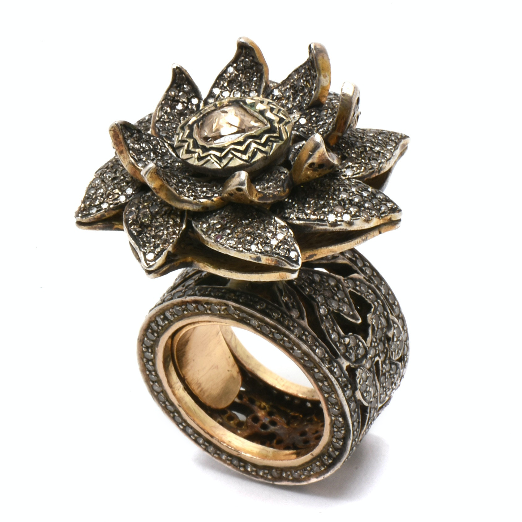 Sterling Silver 6.55 CTW Diamond Tiered Floral Statement Ring