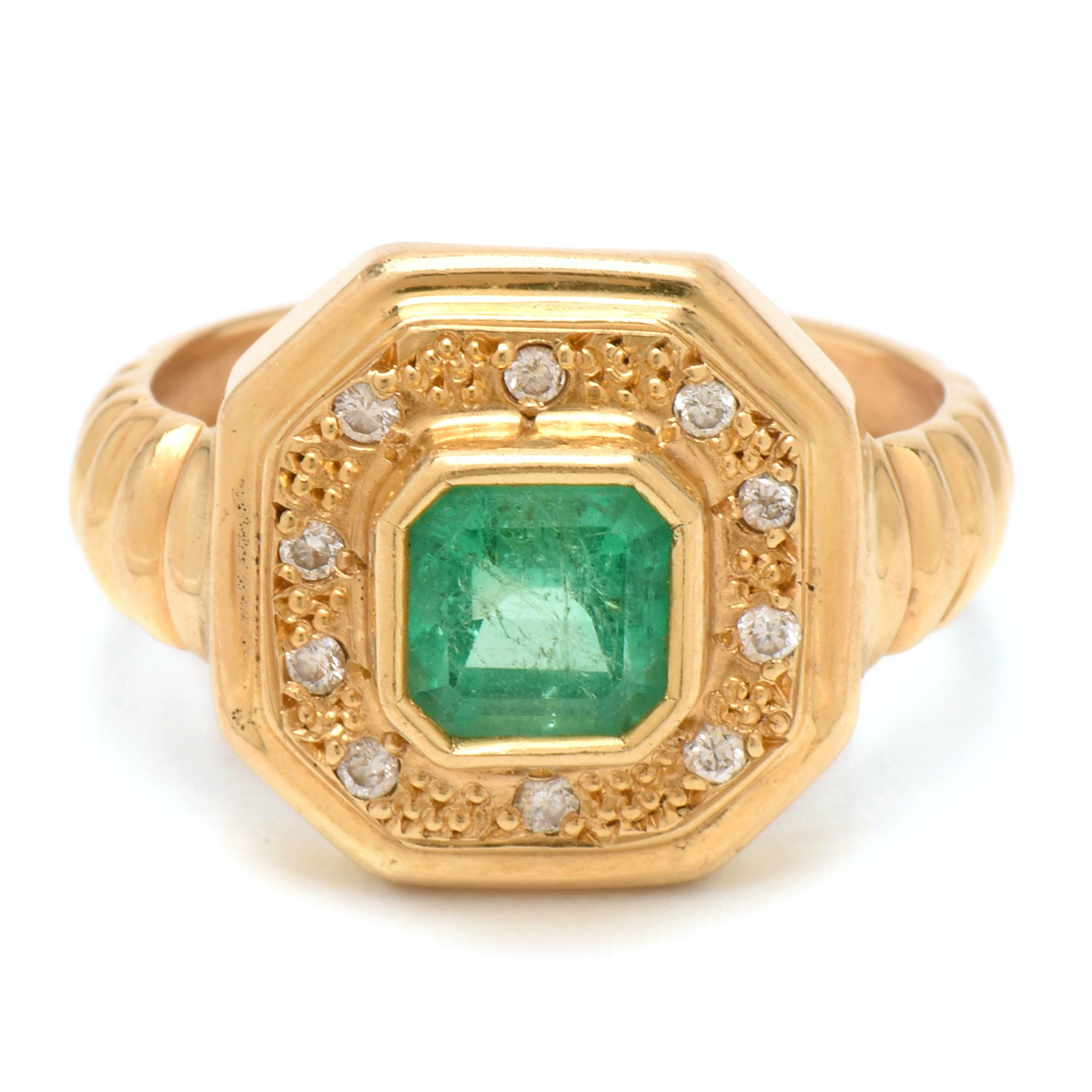 18K Yellow Gold Emerald and Diamond Octagonal Head Ring
