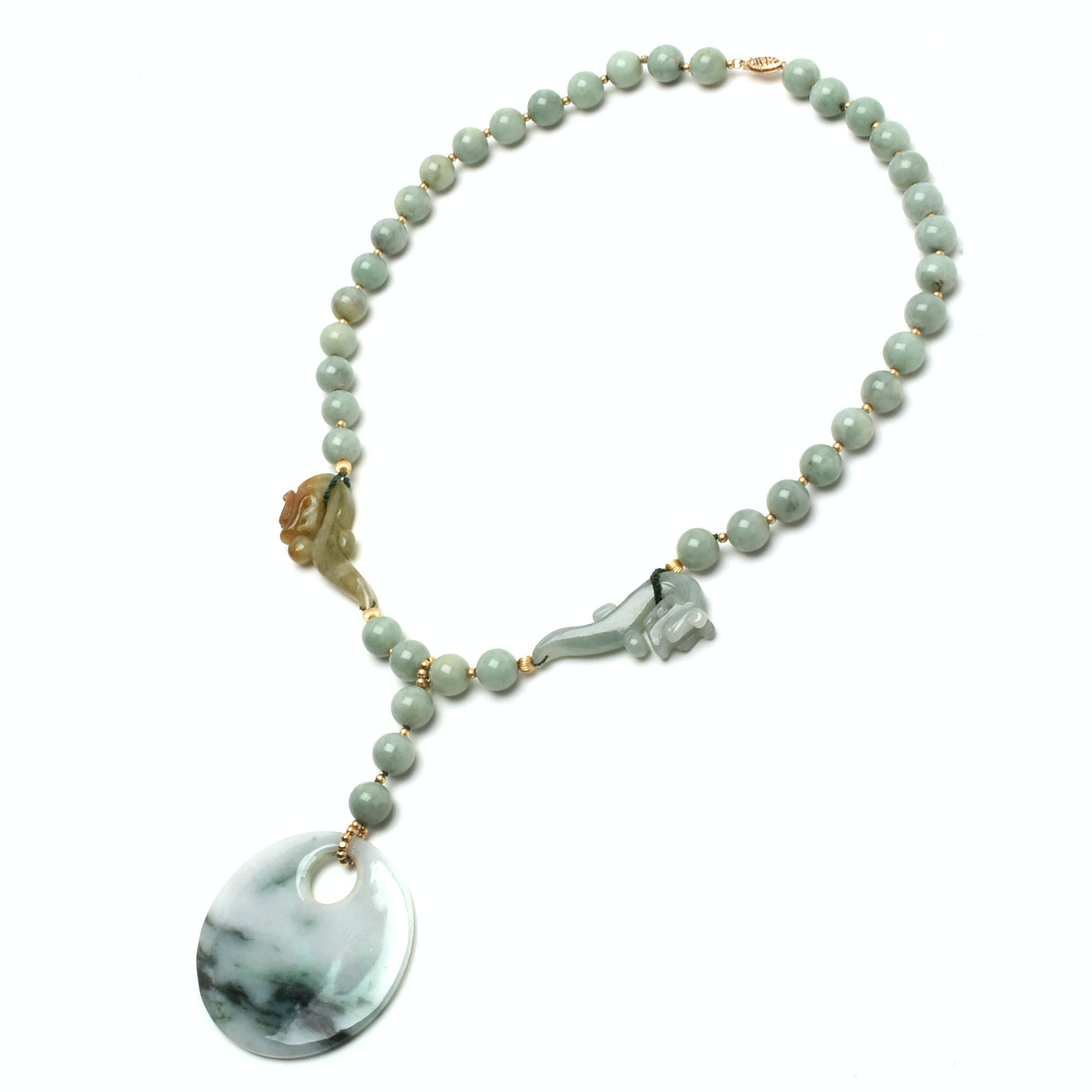 Chinese Carved Jadeite Beaded Necklace with 14K Yellow Gold Clasp