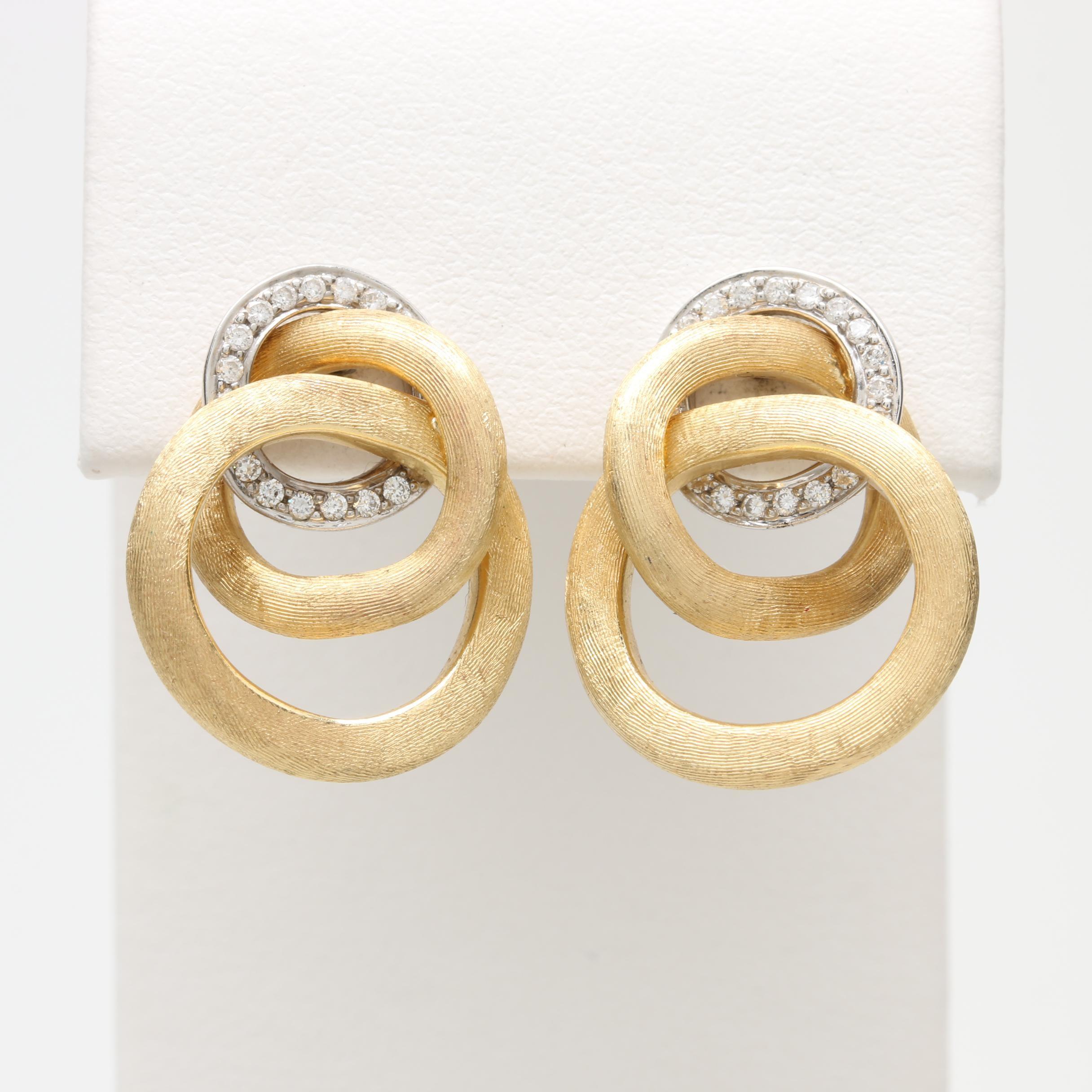Marco Bicego Italian Made 18K Yellow and White Gold Diamond Earrings