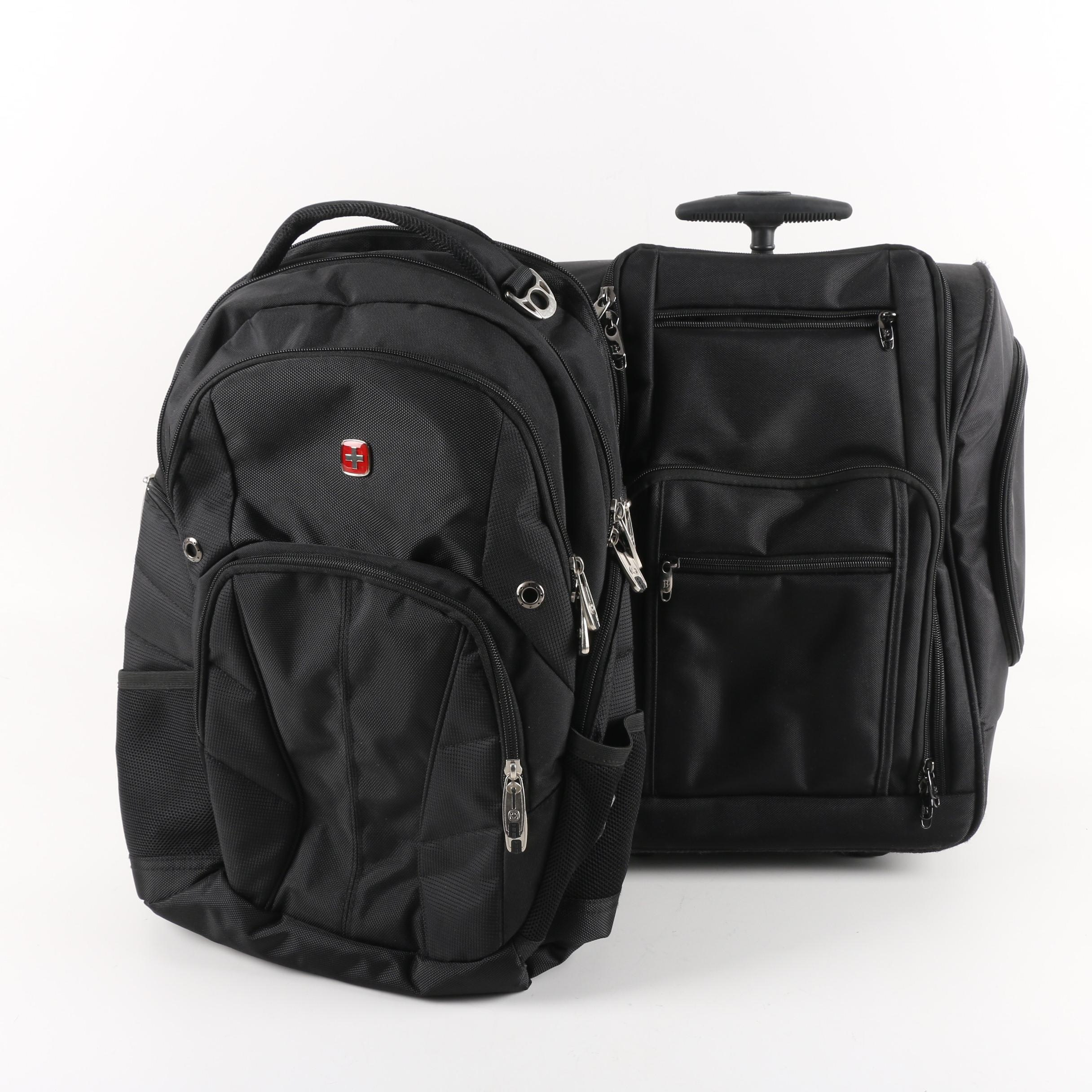 Brookstone Rolling Travel Bag and Swiss Gear Backpack