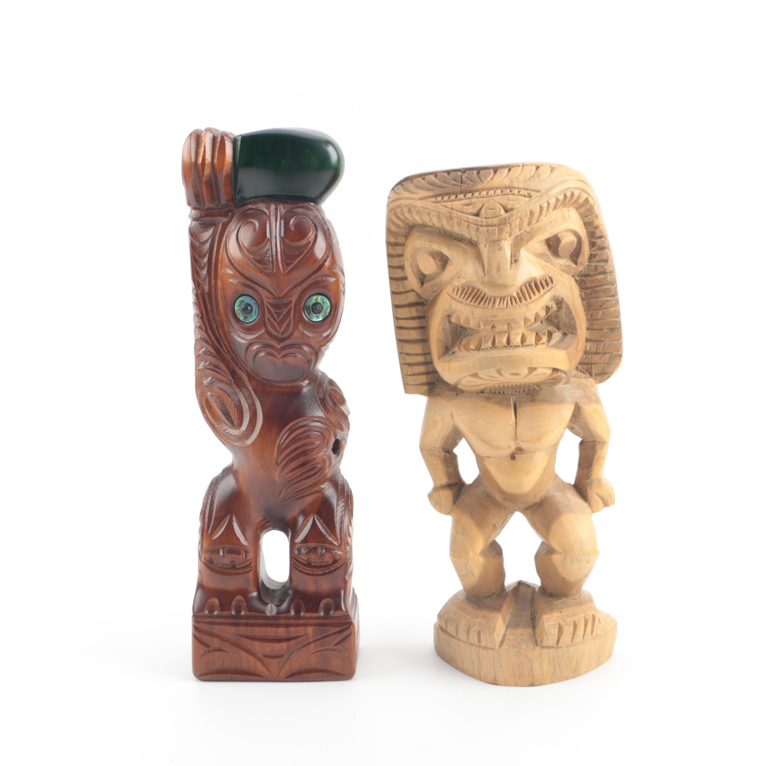 Polynesian Style Carved Wooden Figures Including Māori Kauri Timber Tekoteko