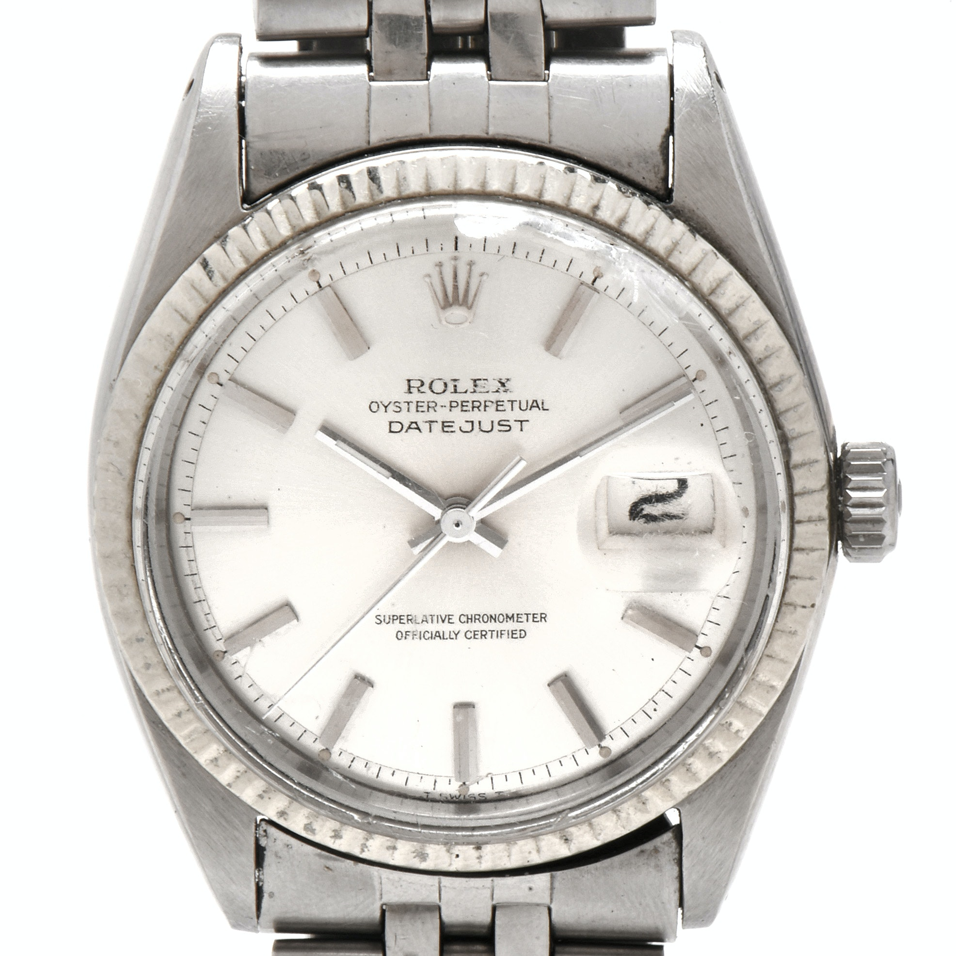 Circa 1967 Rolex Stainless Steel and 14K White Gold Wristwatch