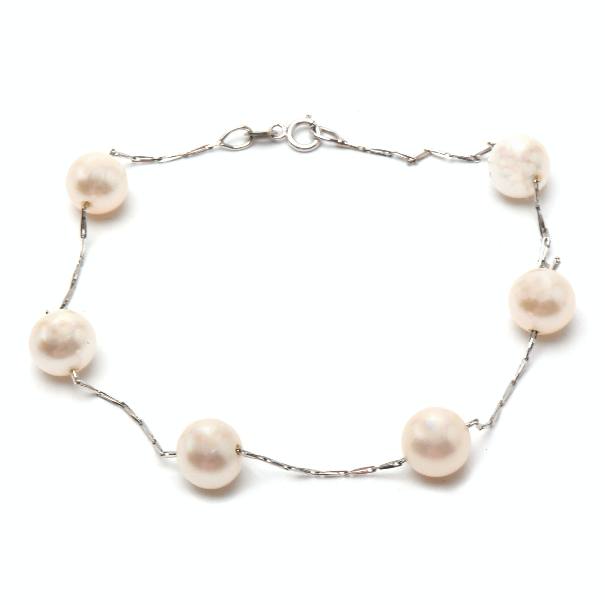 Italian 18K White Gold Cultured Pearl Bracelet