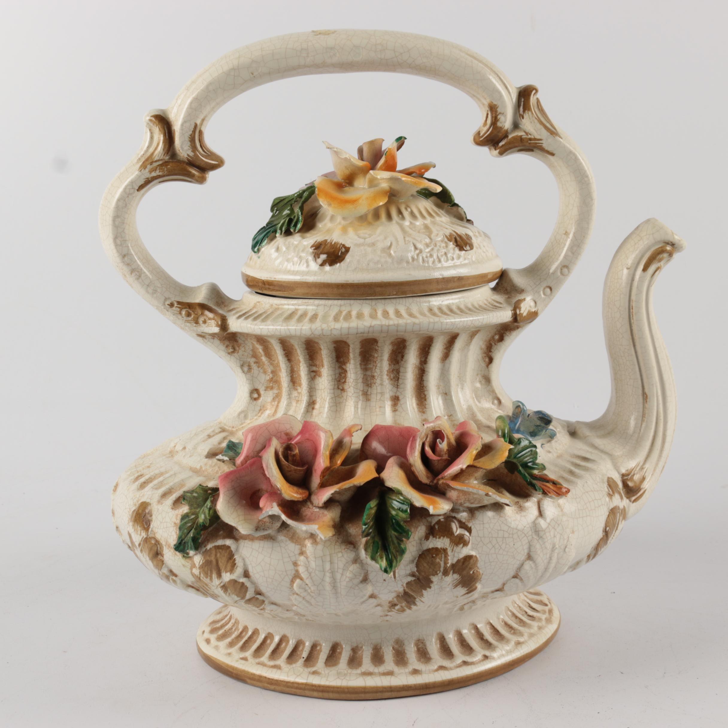 Vintage Capodimonte Porcelain Teapot