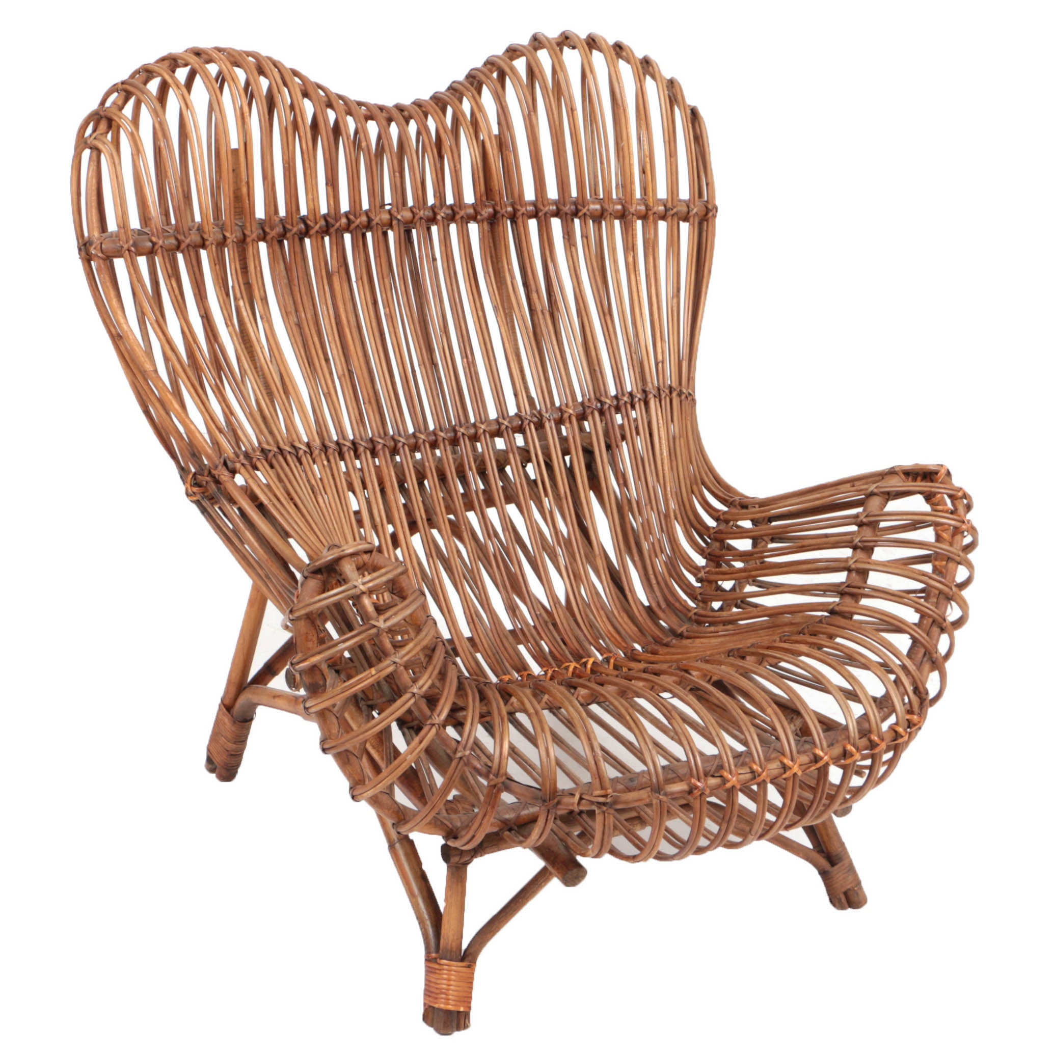 """Circa 1951 """"Gala"""" Rattan Chair by Franco Albini"""