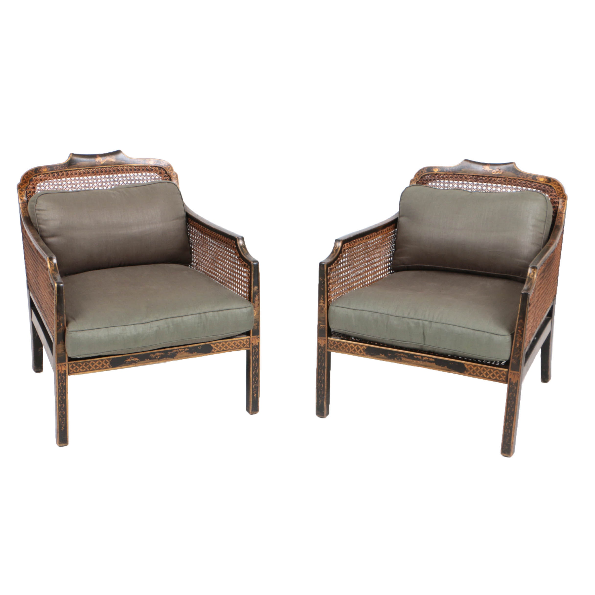Pair of Early 20th Century Chinoiserie Caned Arm Chairs