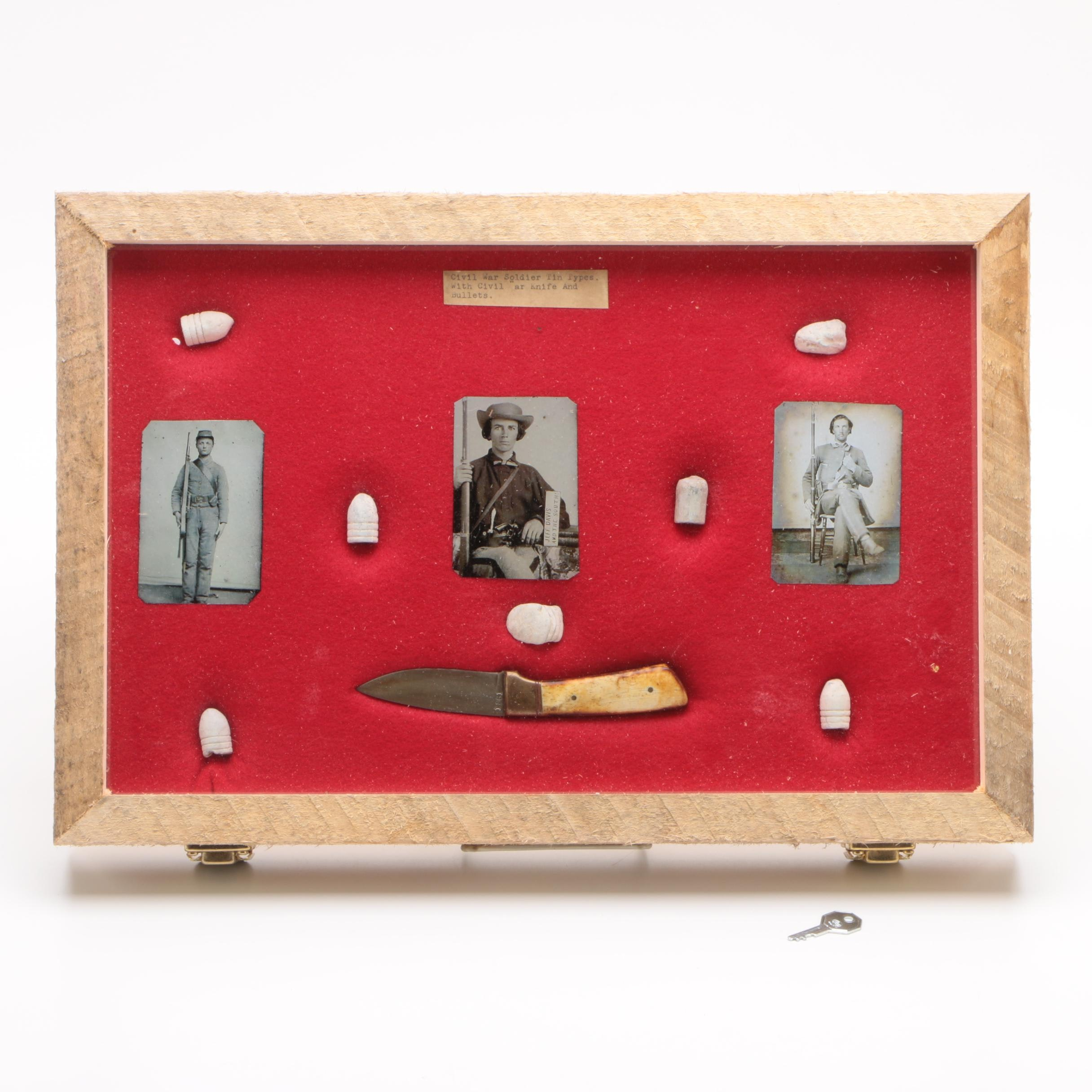Shadowbox including Replica Civil War Soldier Tintypes with Knife and Bullets