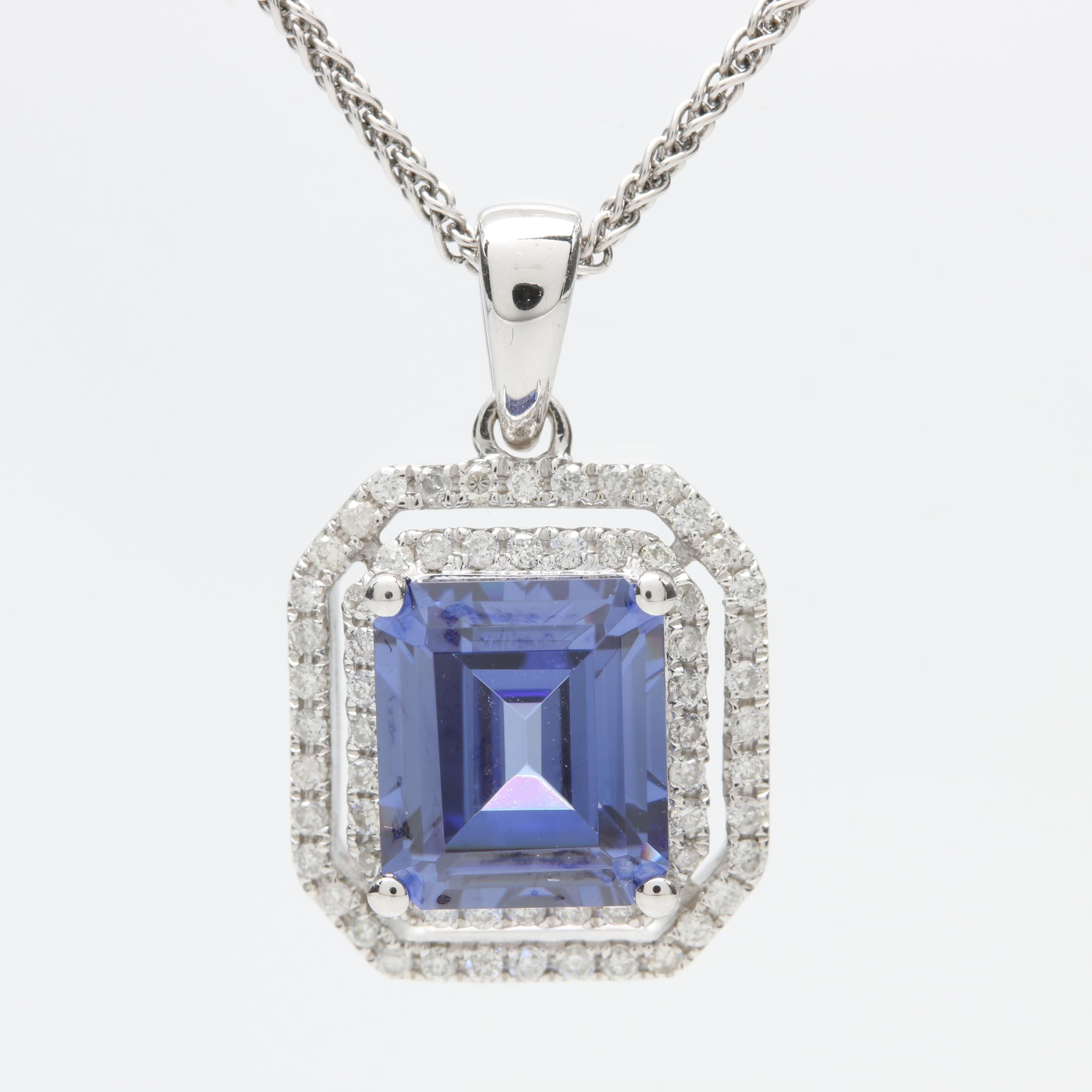 18K White Gold Cubic Zirconia and Diamond Necklace