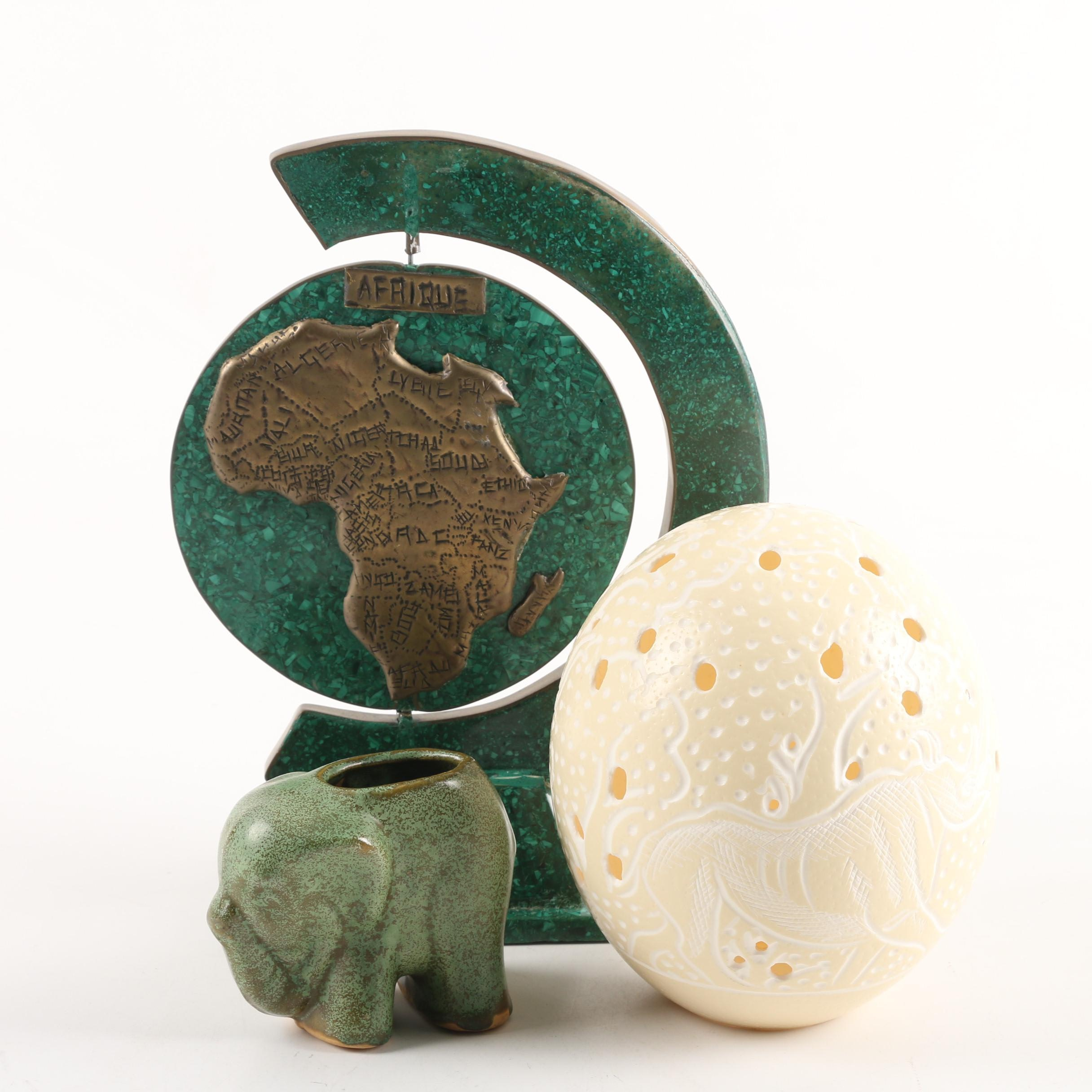Ostrich Egg Carving, Elephant Vase and African Globe Form Sculpture