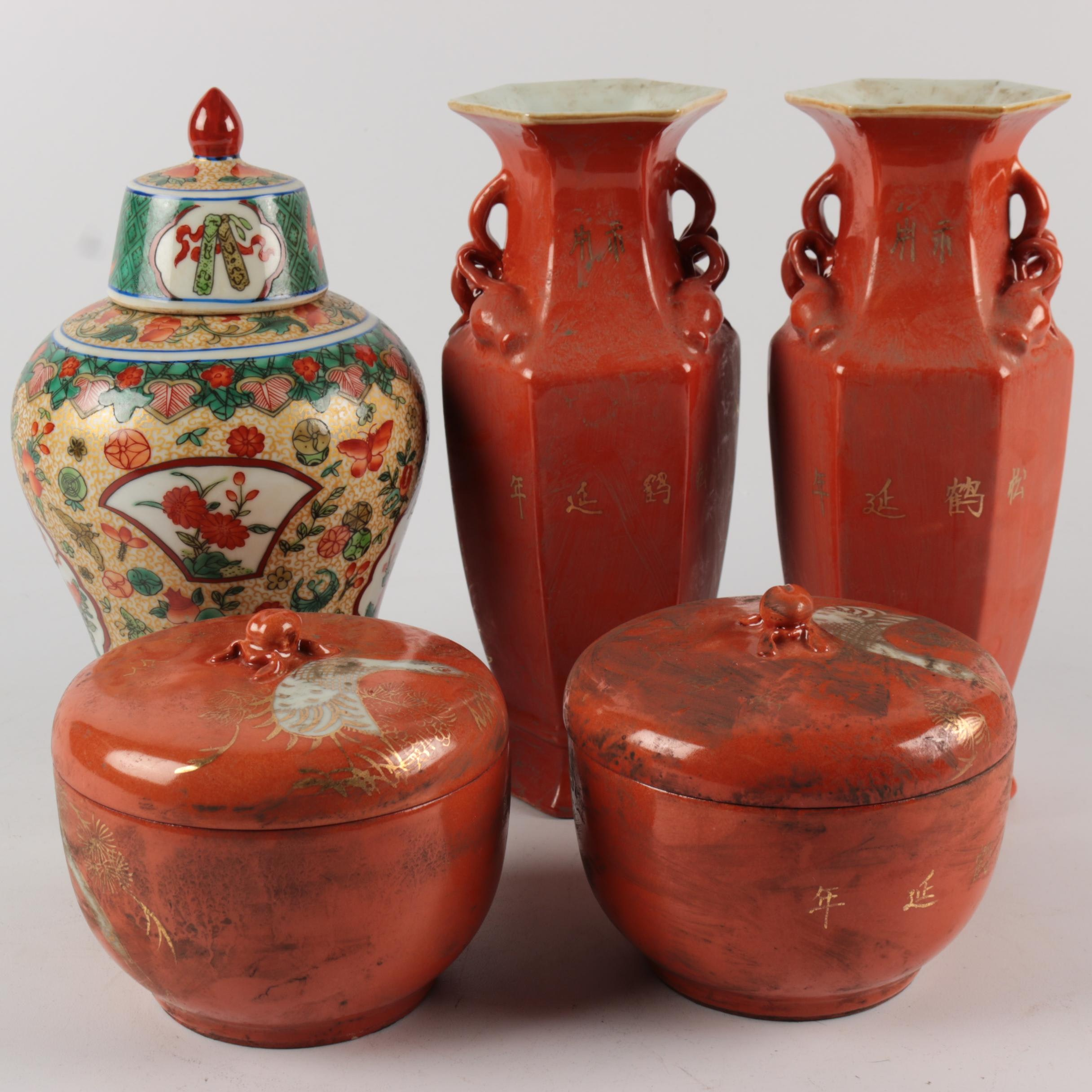 Chinese Hand-Painted Ceramic Vases and Jars