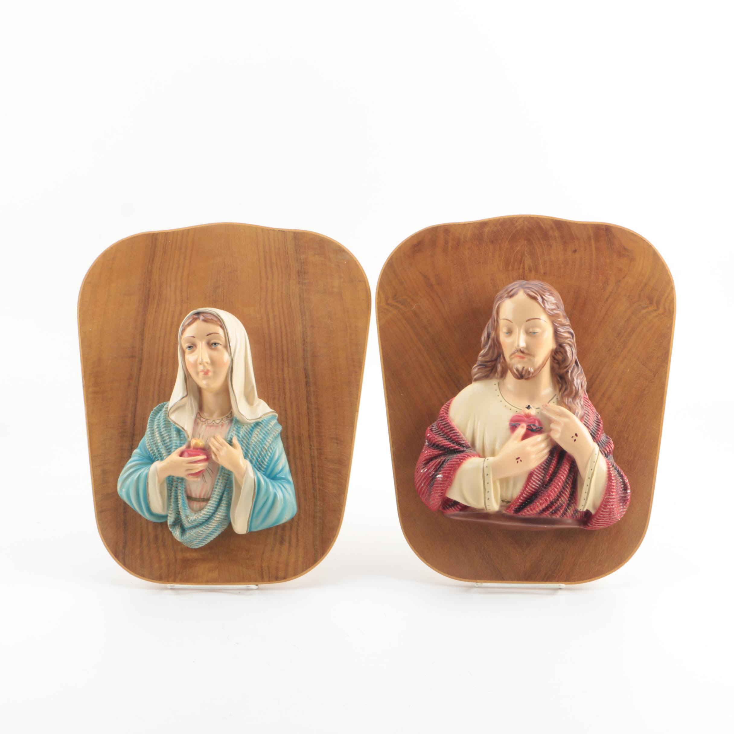 Italian Mounted Chalkware Busts of The Sacred Heart of Jesus and The Virgin Mary
