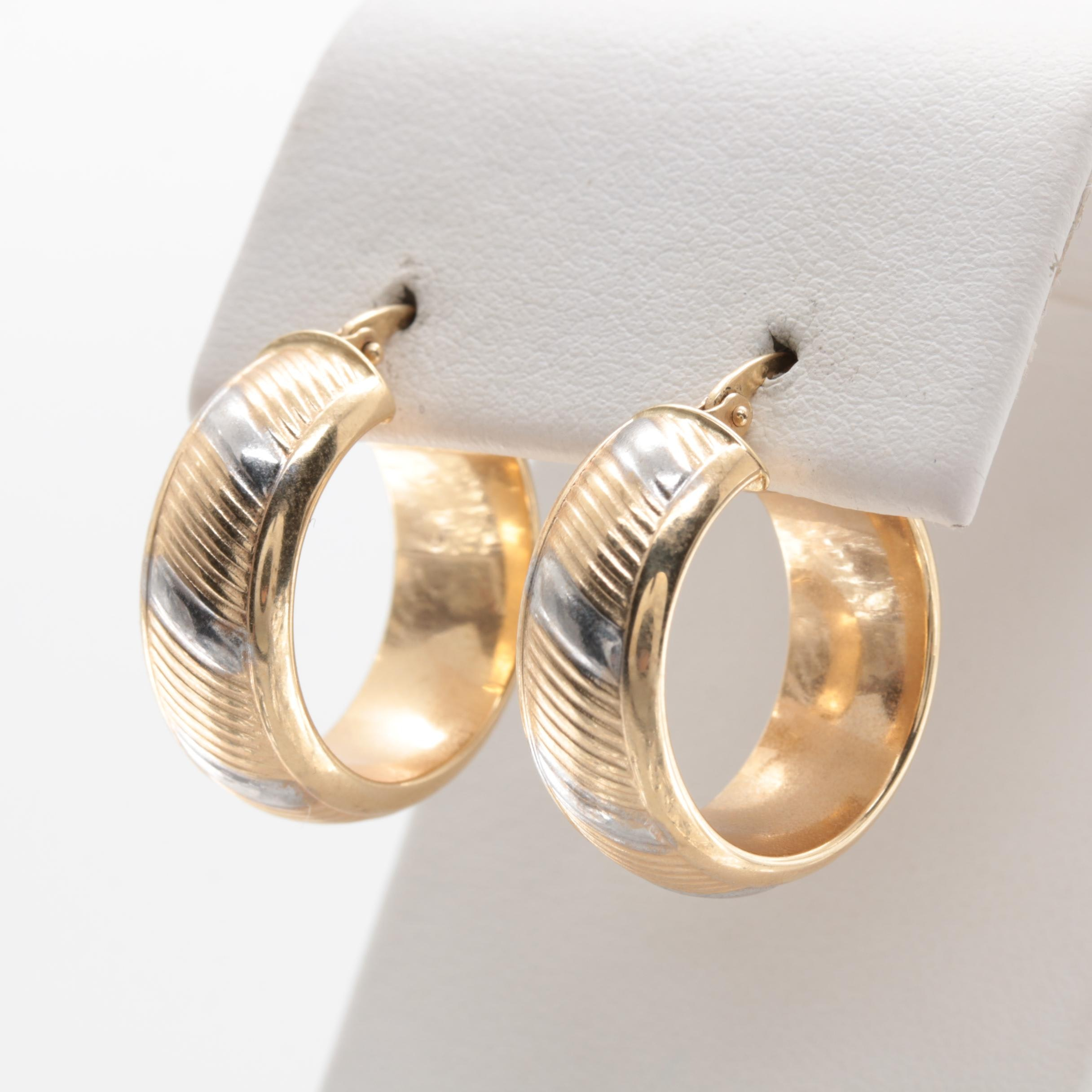 14K Yellow Gold Hoop Earrings With White Gold Accents