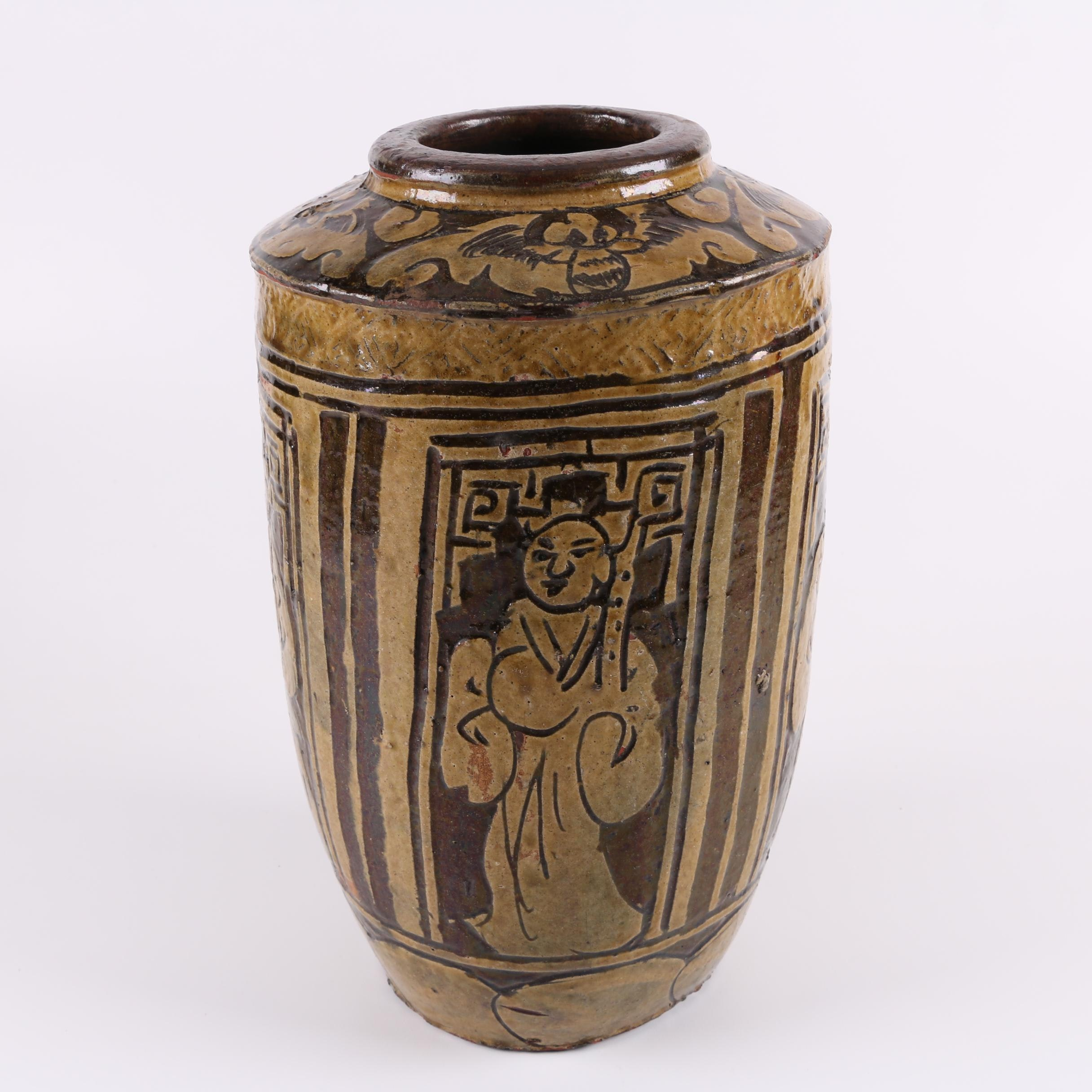 Chinese Brown Figural Pottery Vase
