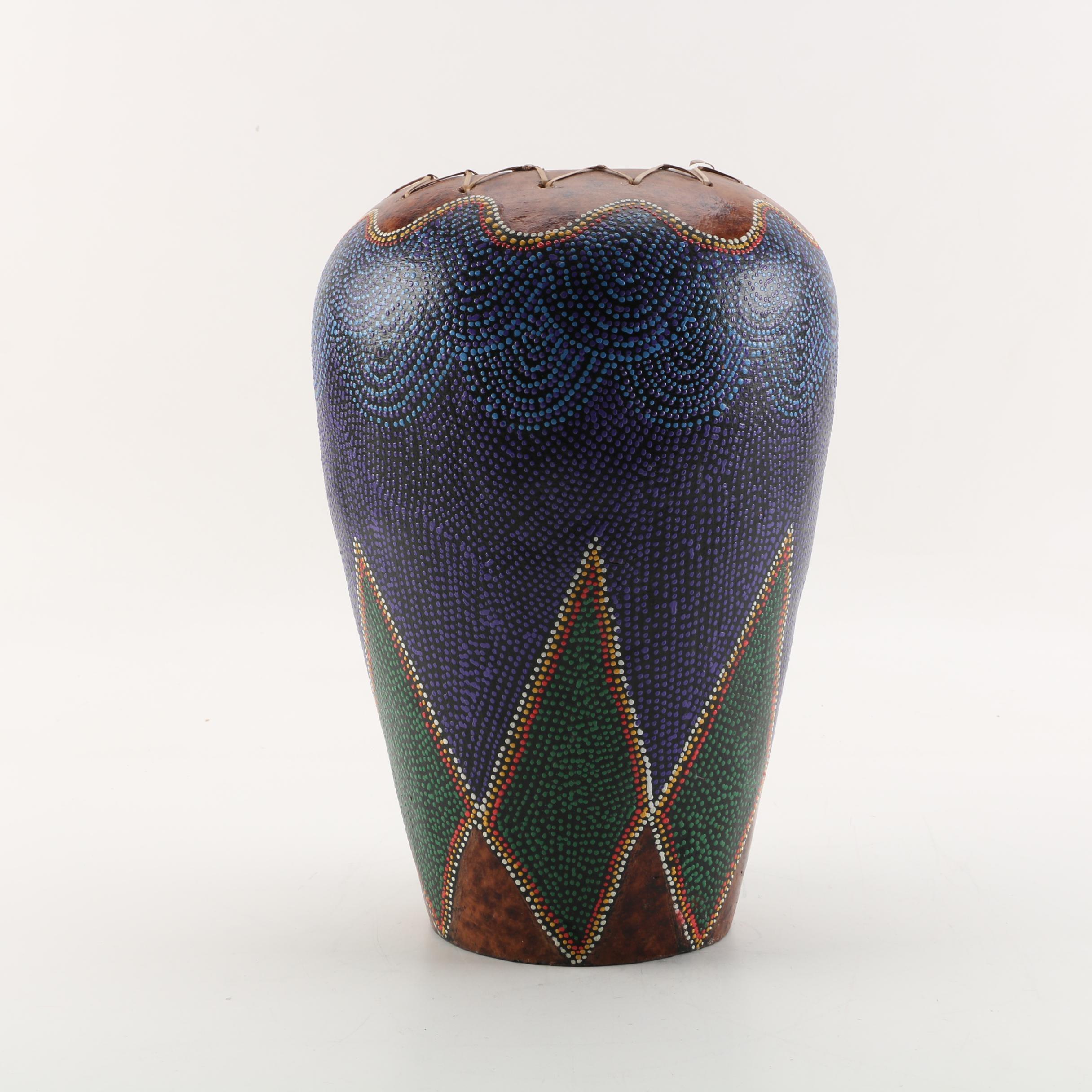 Tribal Inspired Pointillism Style Ceramic Vase