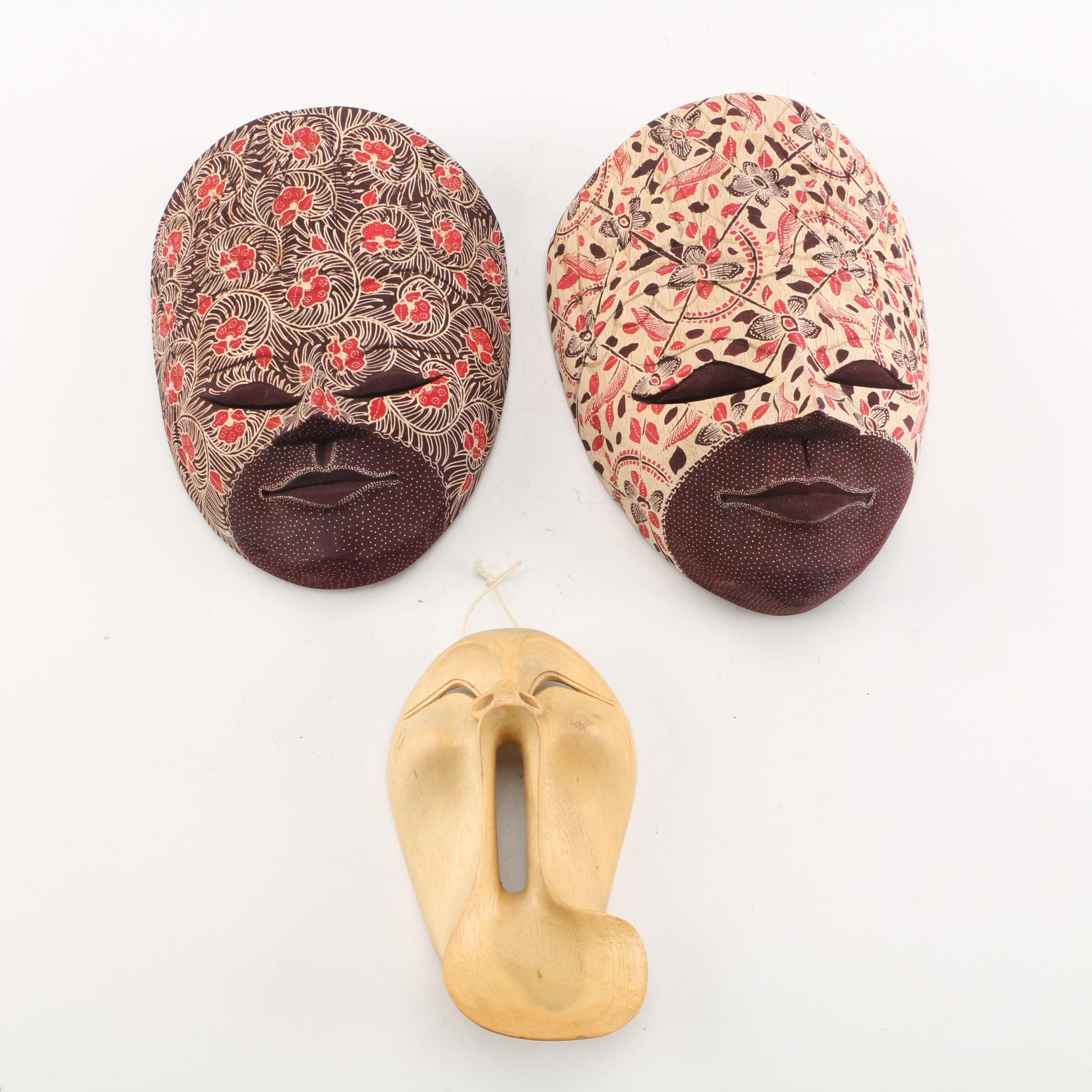 Indonesian Hand-Painted Carved Wood Masks