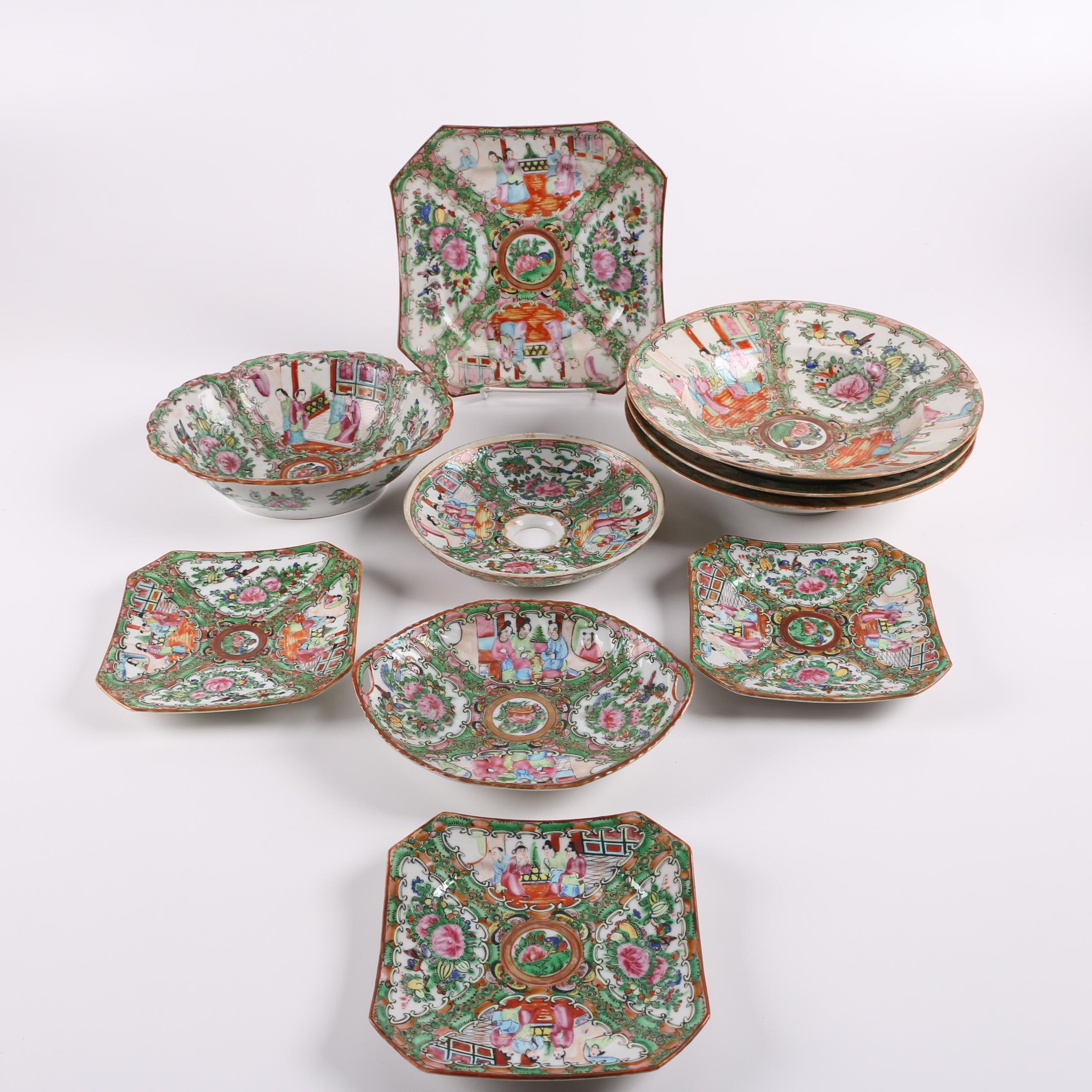 Early 20th Century Chinese Rose Medallion Porcelain Dinnerware
