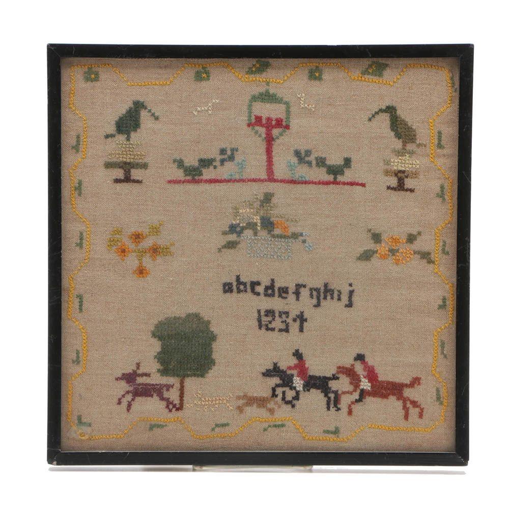 Antique Framed English Cross-Stitch Sampler on Muslin