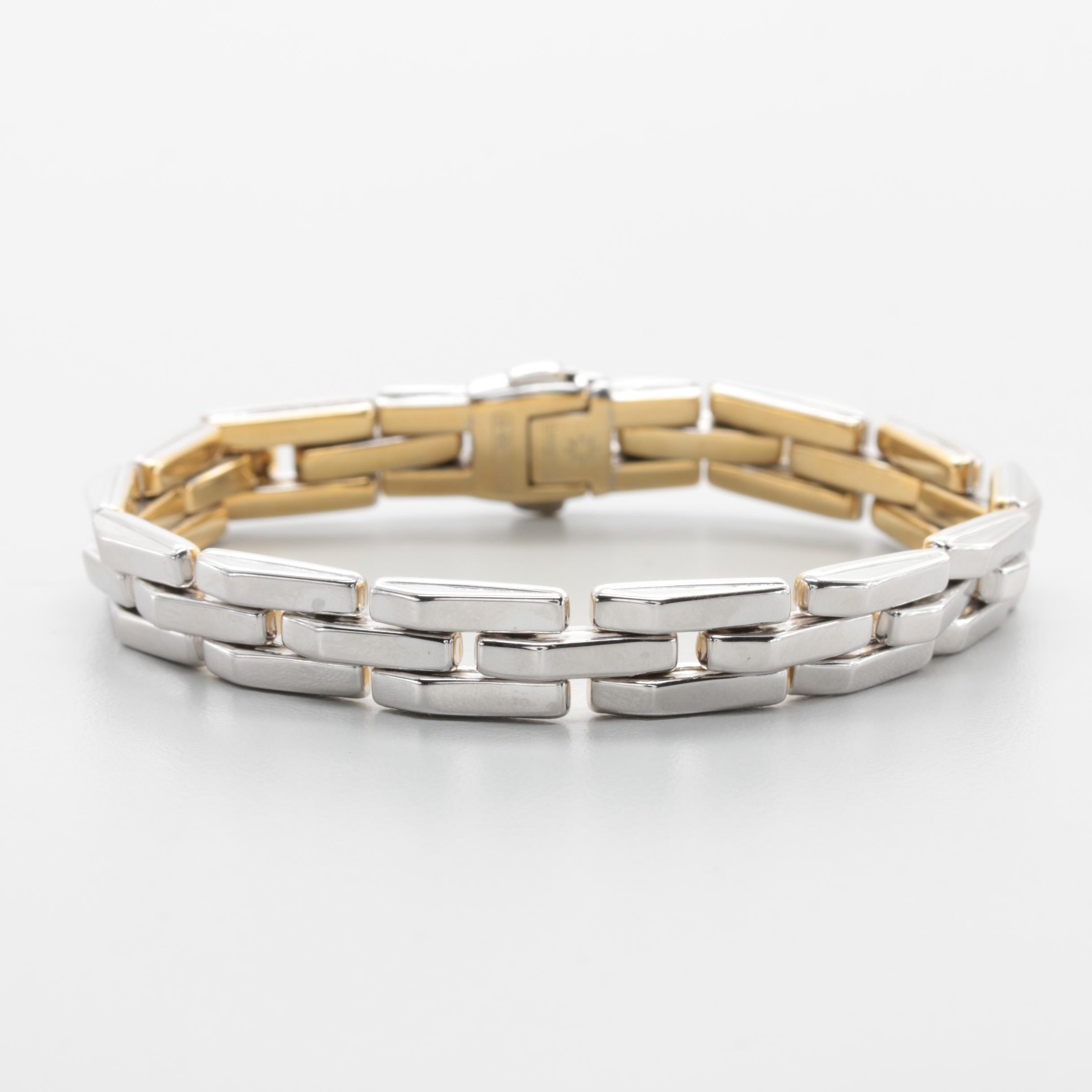 Chimento 18K Yellow and White Gold Reversible Bracelet With Diamond Accent