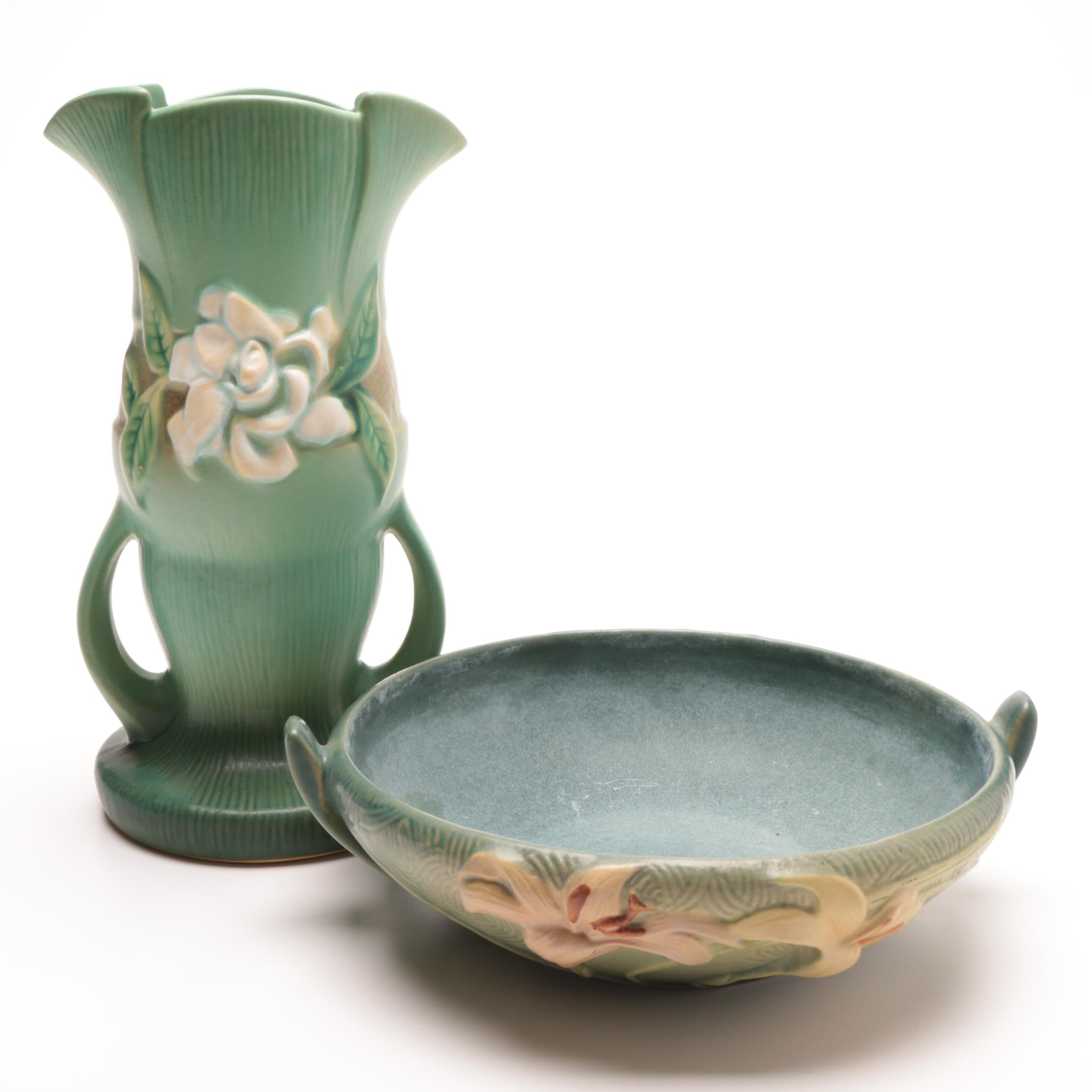 """Roseville Pottery """"Gardenia"""" Vase and"""