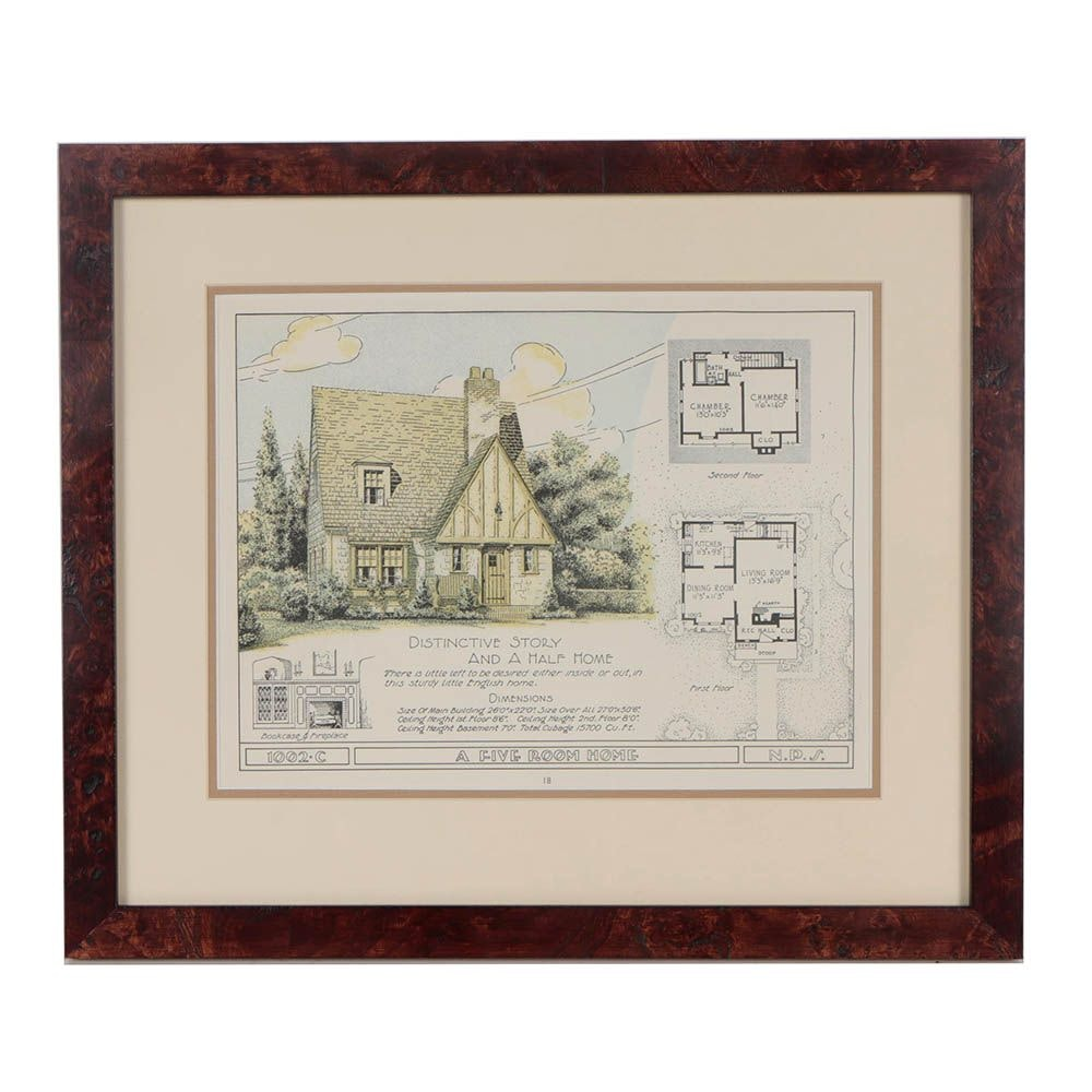 """Relief Print """"Distinct Story and a Half Home"""""""