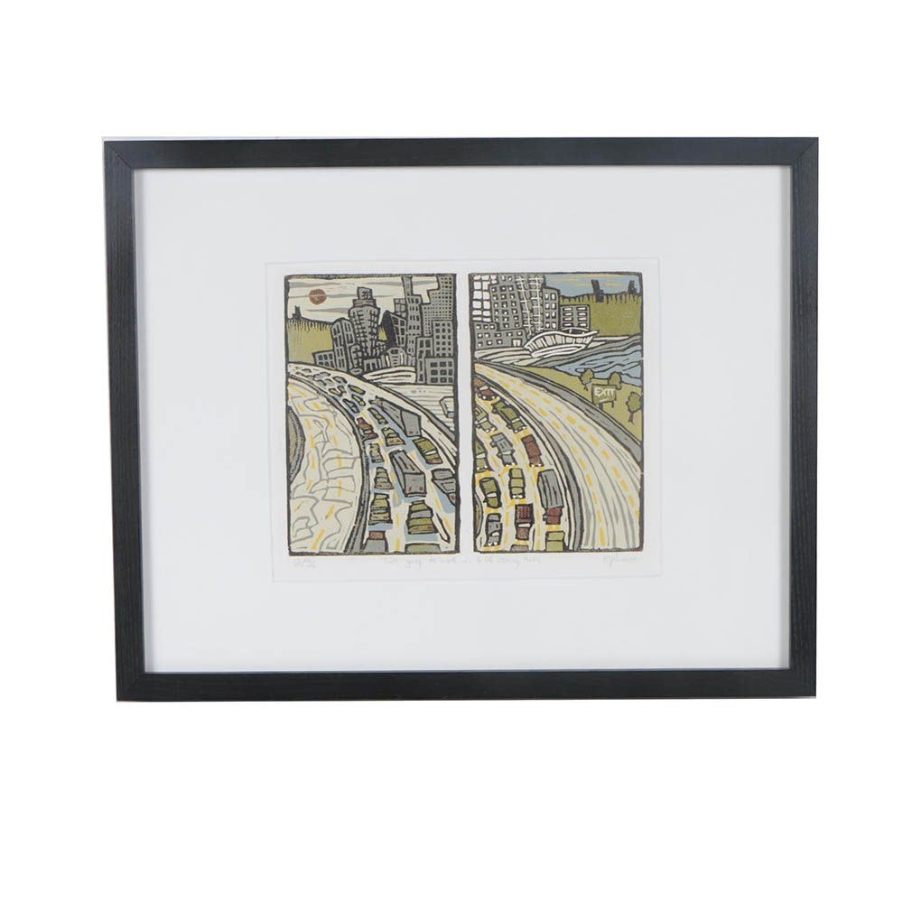 """C. Plummer Relief Print """"7:24 going to work... 6:06 coming home"""""""