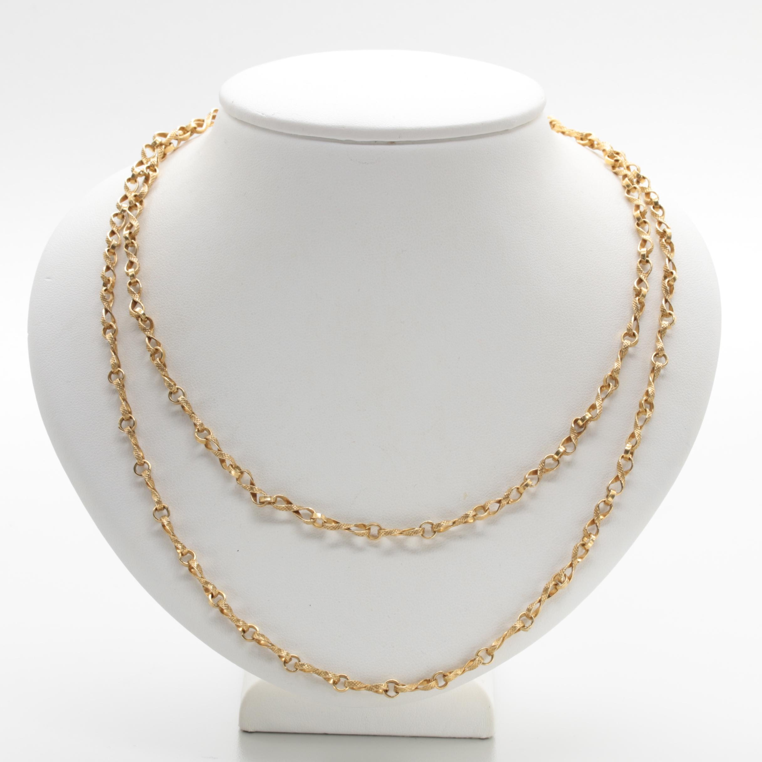 18K Yellow Gold Custom Figure Eight Chain Necklace