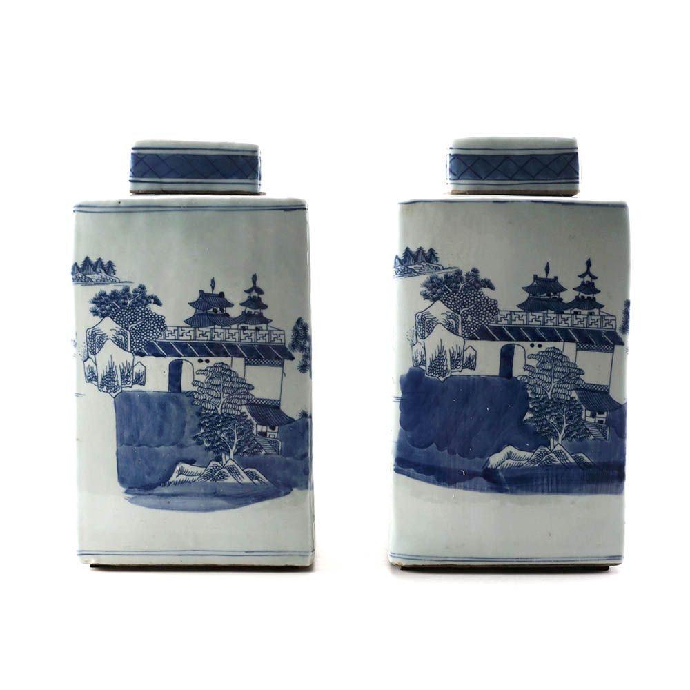 Vintage Chinese Blue and White Ceramic Tea Jars