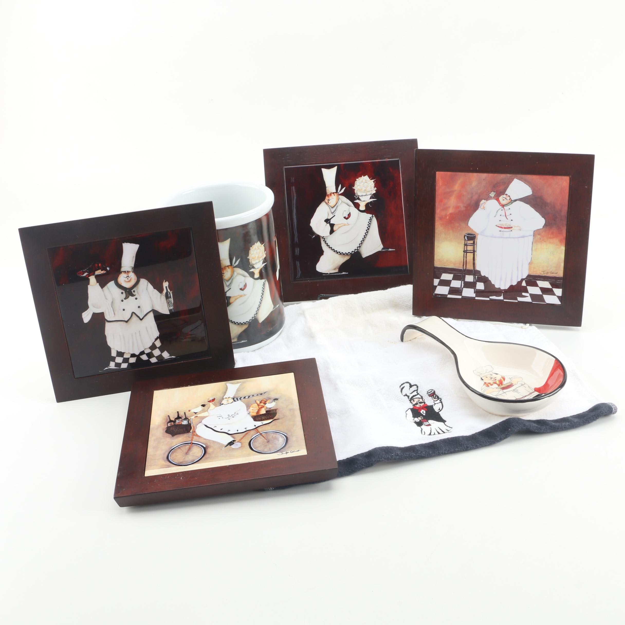 Cypress Home Ceramic Jar and Wall Hangings with Other Chef Themed Kitchenware