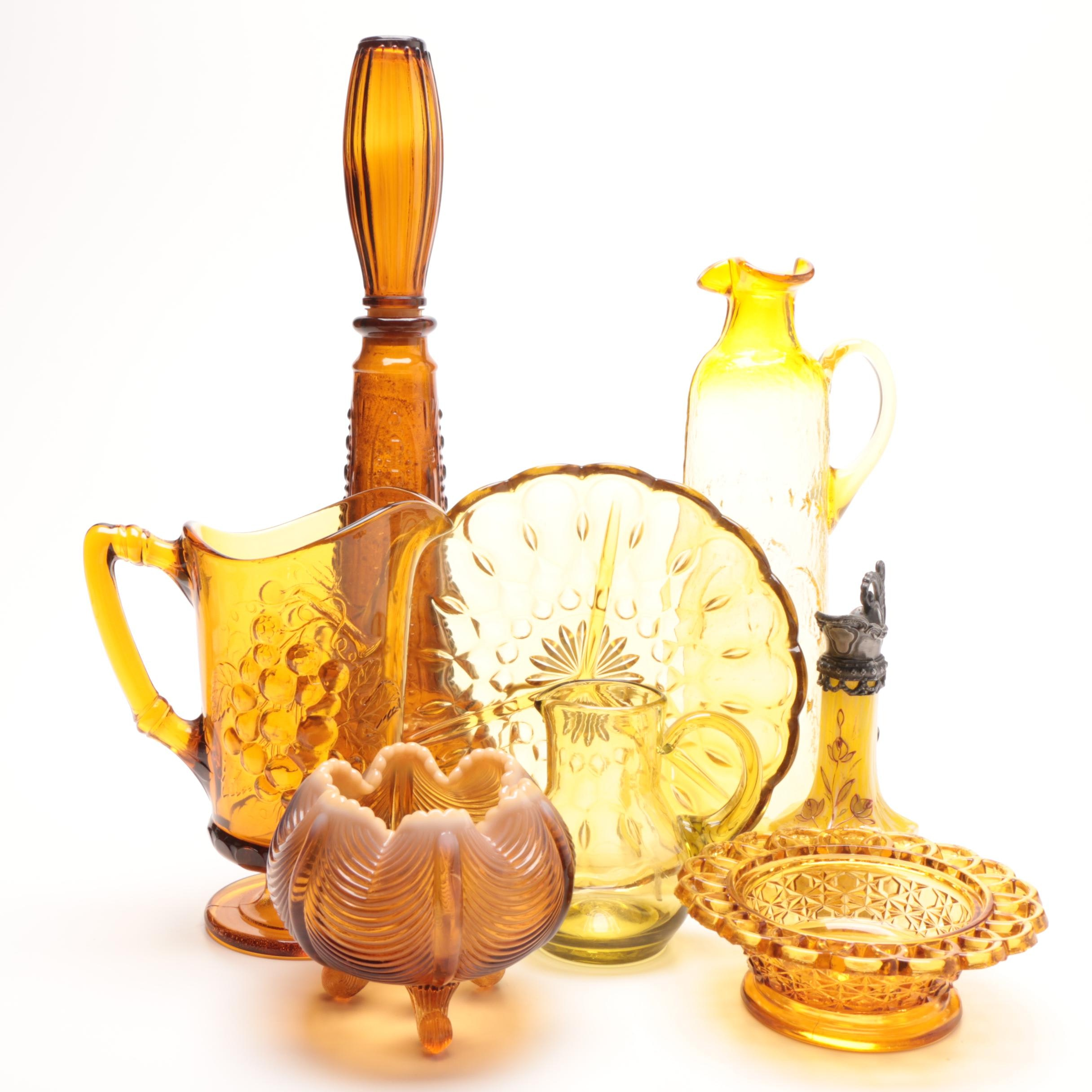 Group of Amber Glass Decor Items