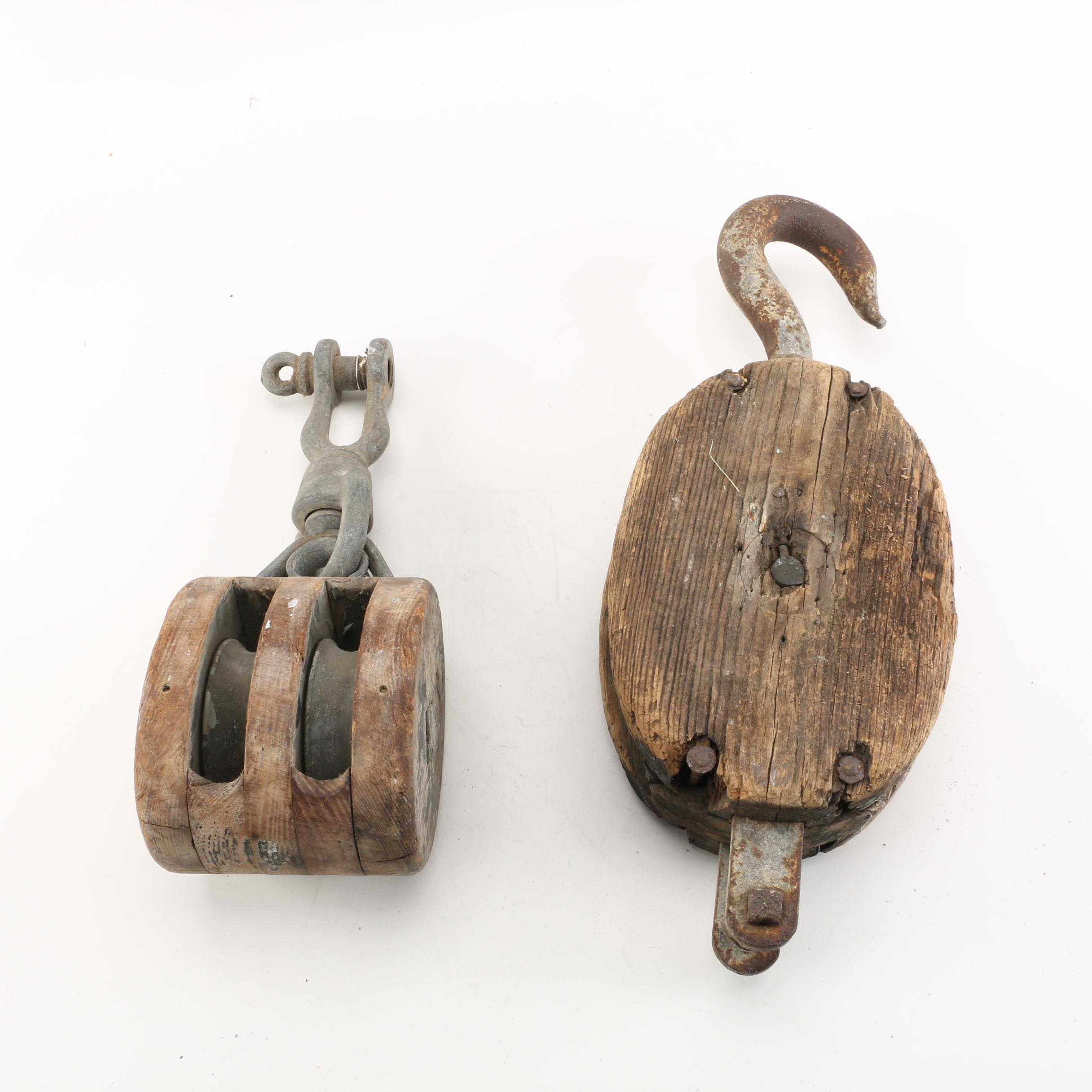 Vintage Wood and Metal Pulleys