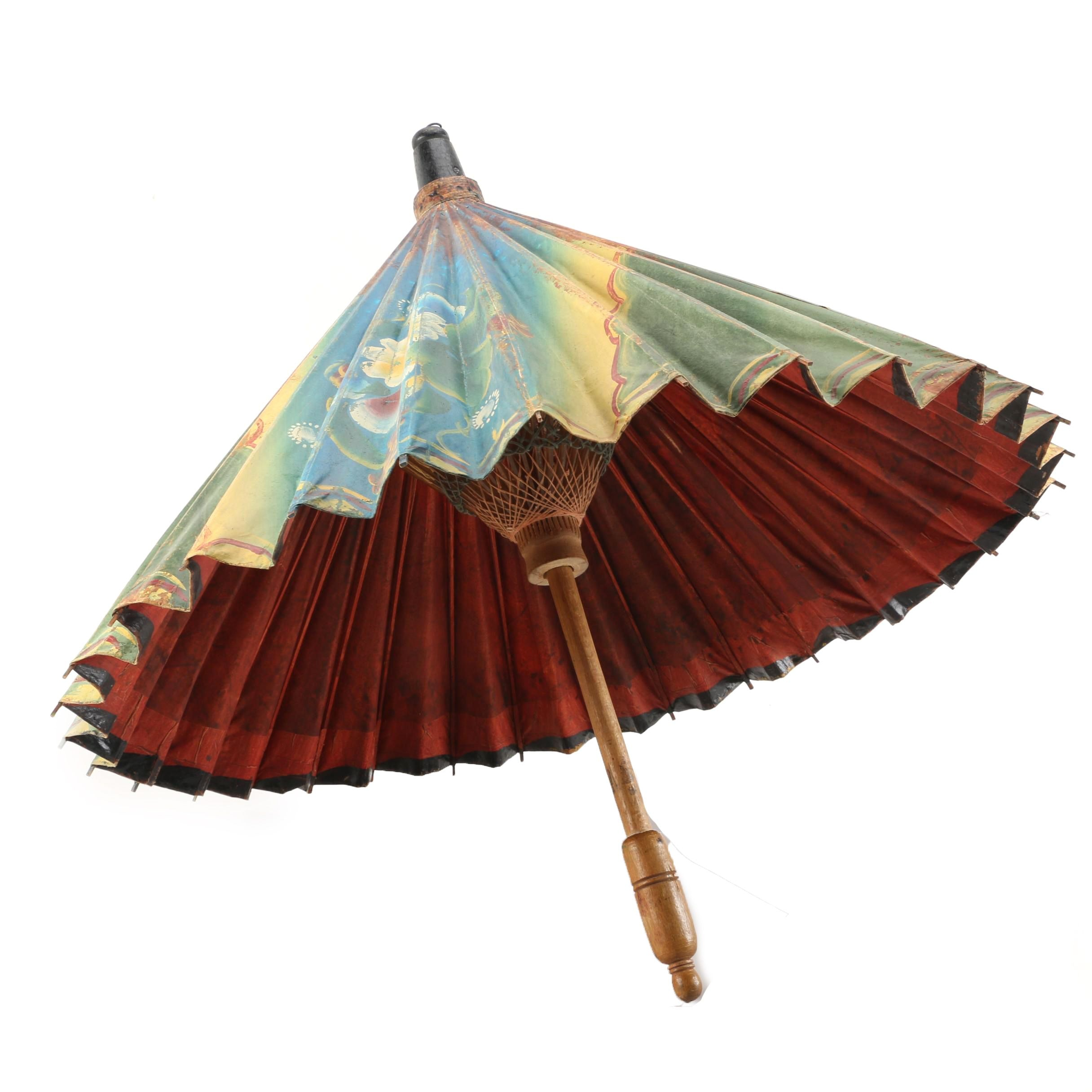 Vintage Hawaiian Style Hand-Painted Umbrella