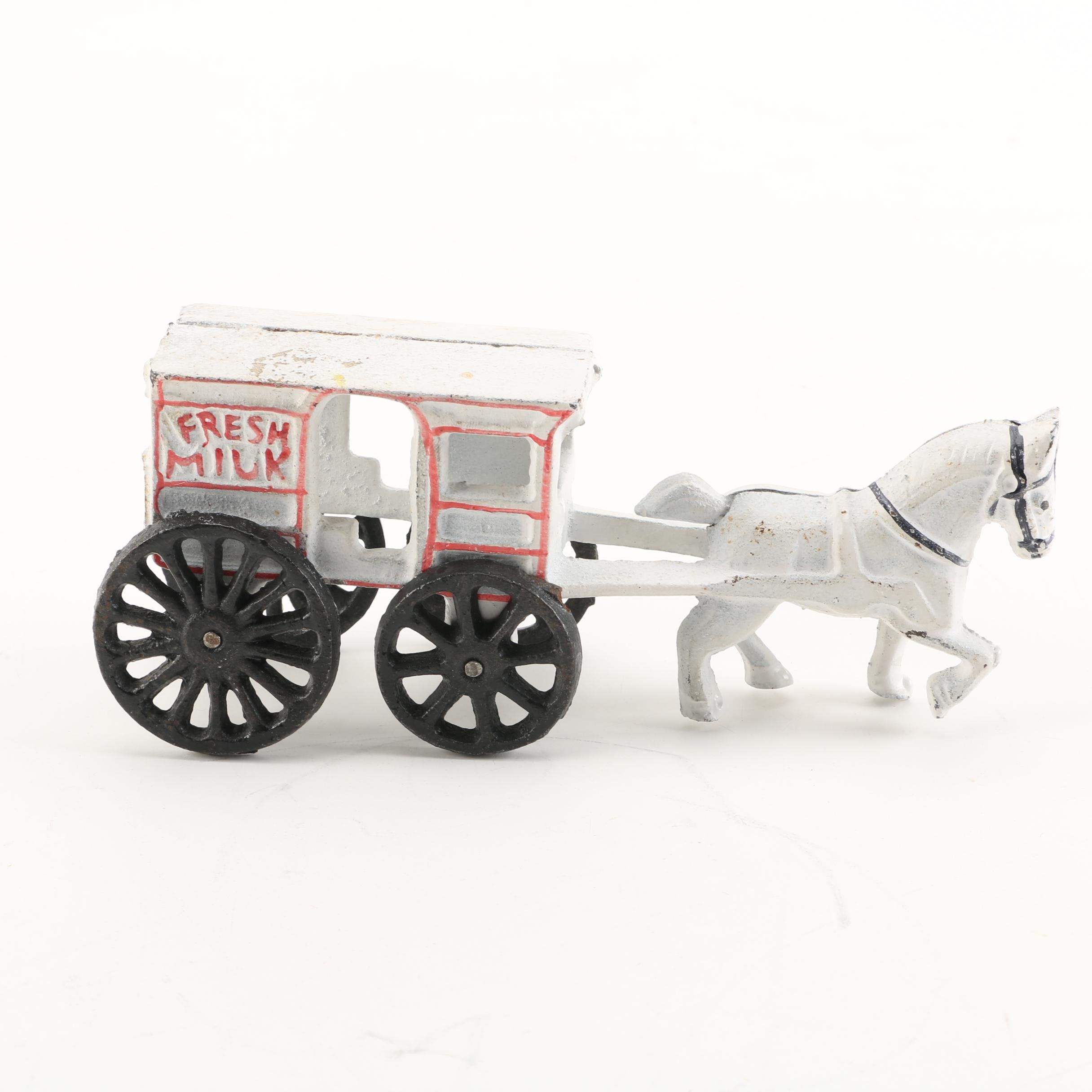 "Vintage Painted Cast Iron ""Fresh Milk"" Horse Drawn Cart"
