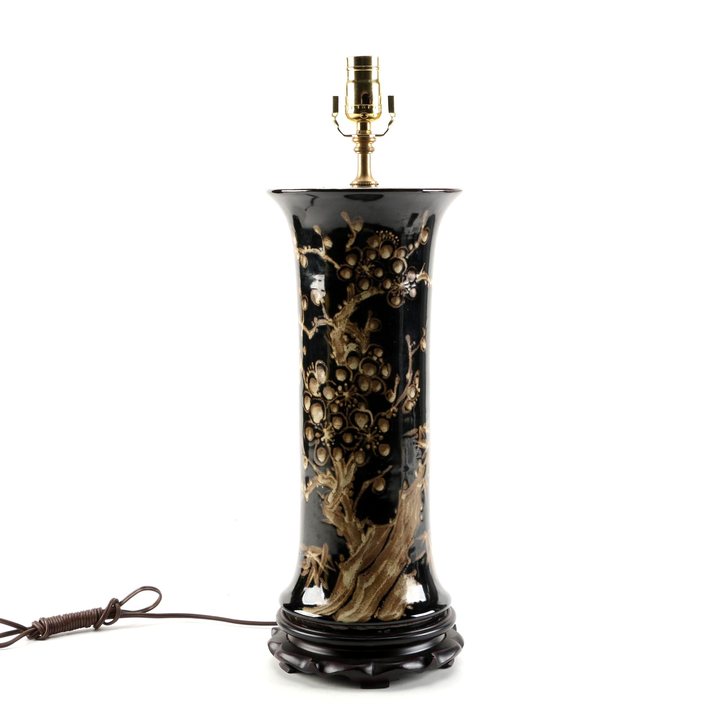 East Asian Vase Table Lamp with Cherry Blossom Motif
