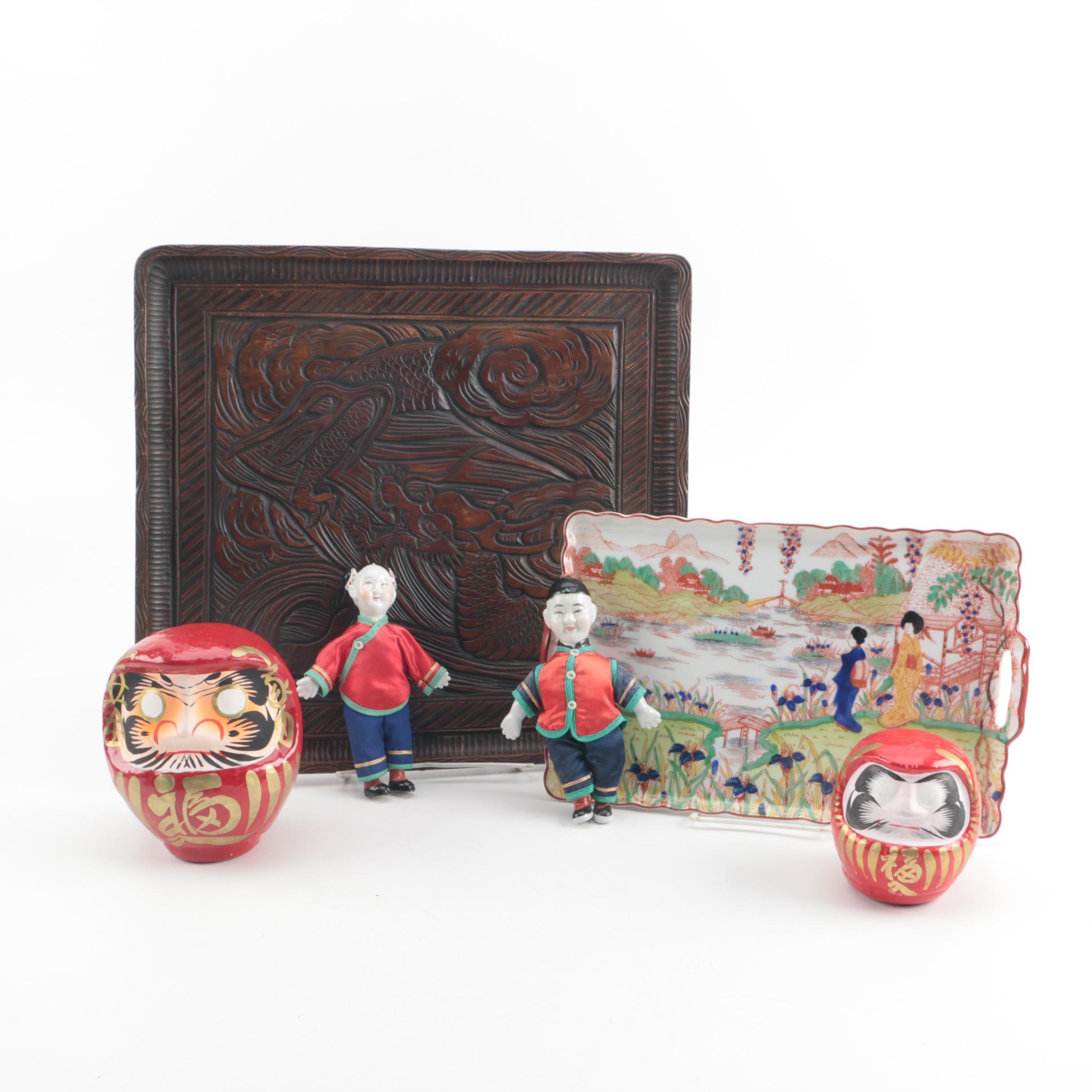 East Asian Trays and Dolls including Japanese Daruma Dolls