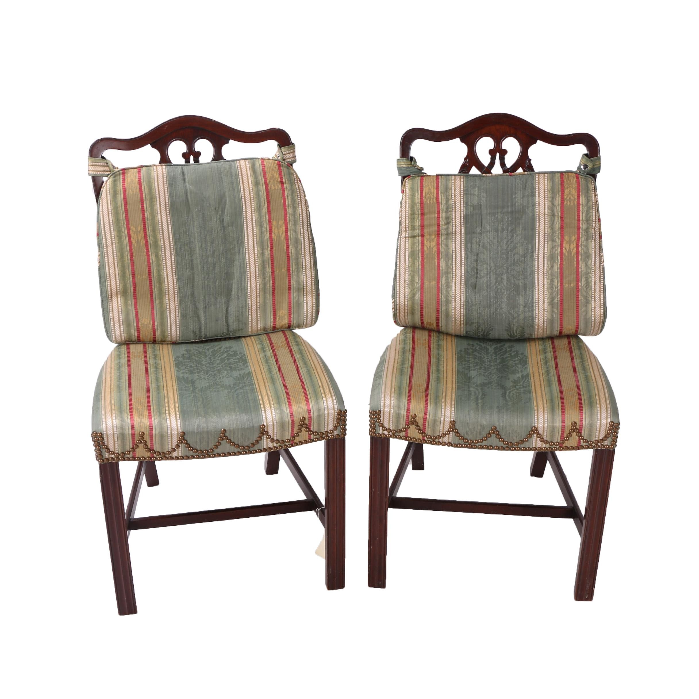 19th Century English Chippendale Style Upholstered Side Chairs